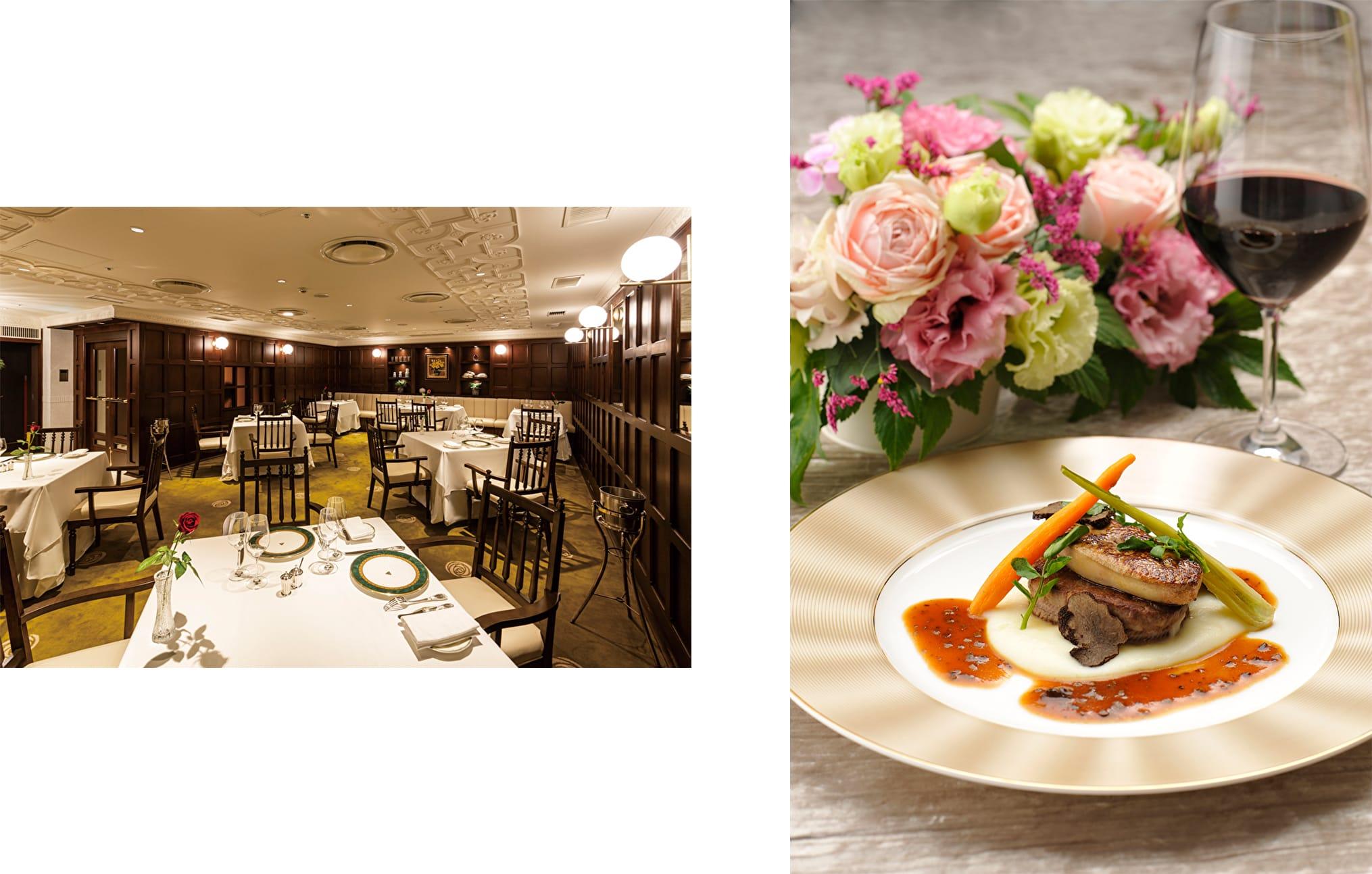 左:クラシカルな雰囲気が新鮮な「フレンチレストラン ラヴィ」。右:リニューアル記念特別コース(ディナー)のメインは国産牛フィレ肉のポワレ ロッシーニ風。リニューアル記念特別コース(ディナー)18,000円(税・サービス料別)