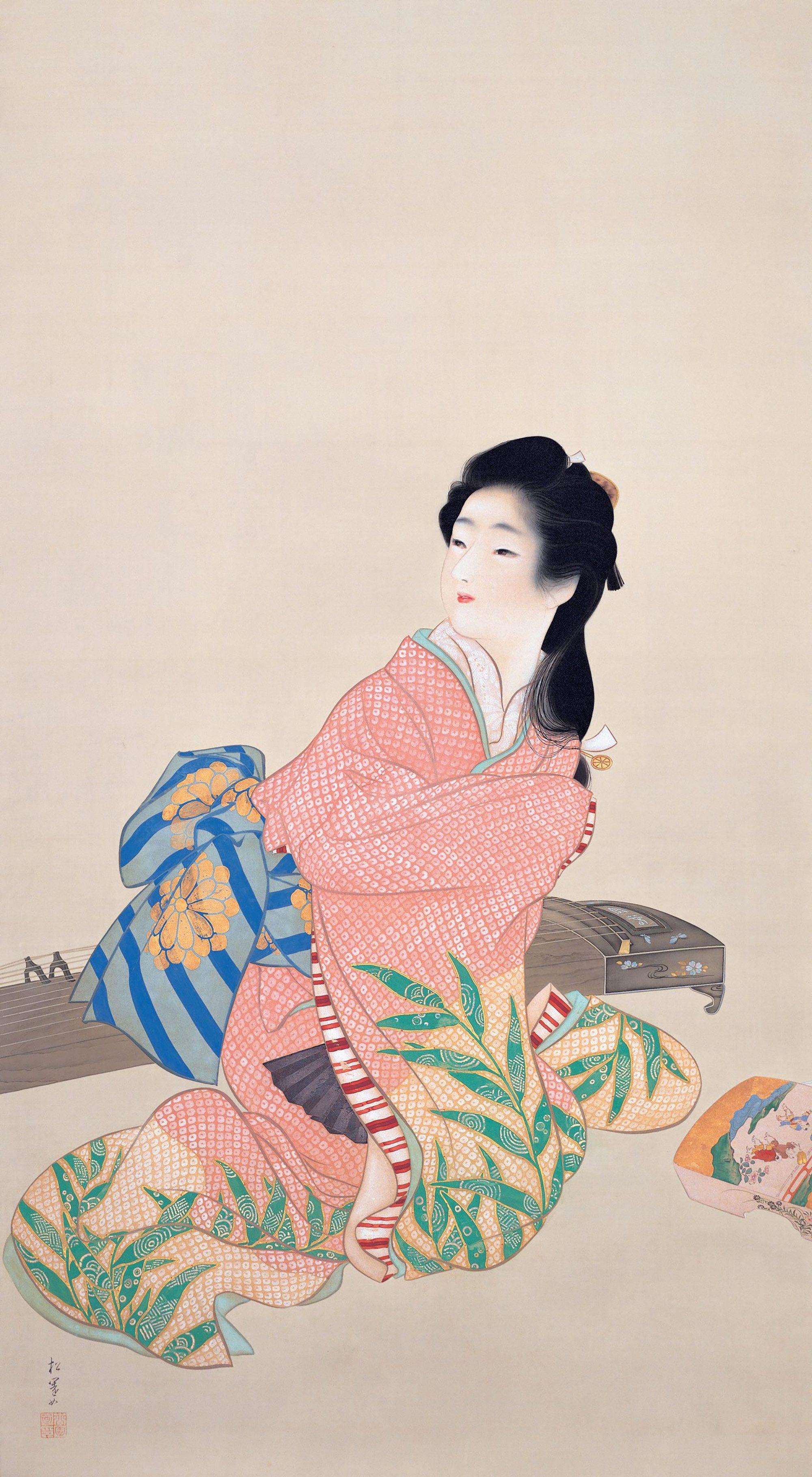 上村松园「闺女深雪」大正3年(1914)足立美术馆藏