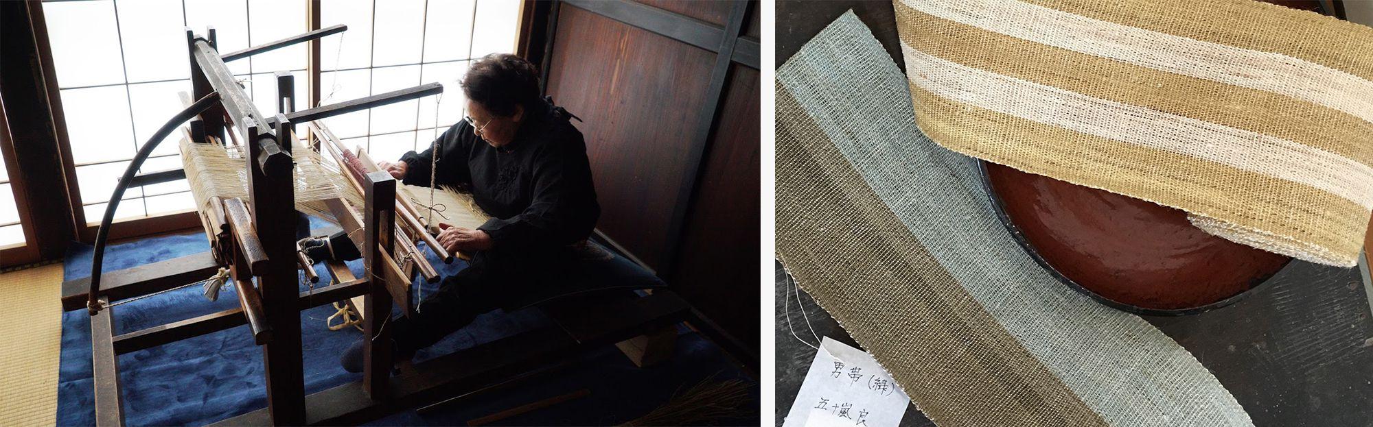 経糸が一定の張り具合で保たれる高機と違い、地機の場合、織る人のからだで経糸の張りが調整されるため、布に自然な風合いが生まれる。 写真提供:昭和村写真右五十嵐良が織った男帯。手仕事のあたたかみが感じられる。Photography by MasakoSuda