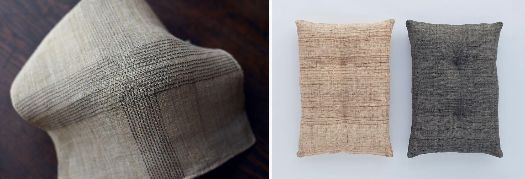 「渡し舟」の作品。布製品、クッションなど、村の90代の姉さまの地機織りの布を暮らしに馴染む作品にした。Photography by Jun Nakagawa