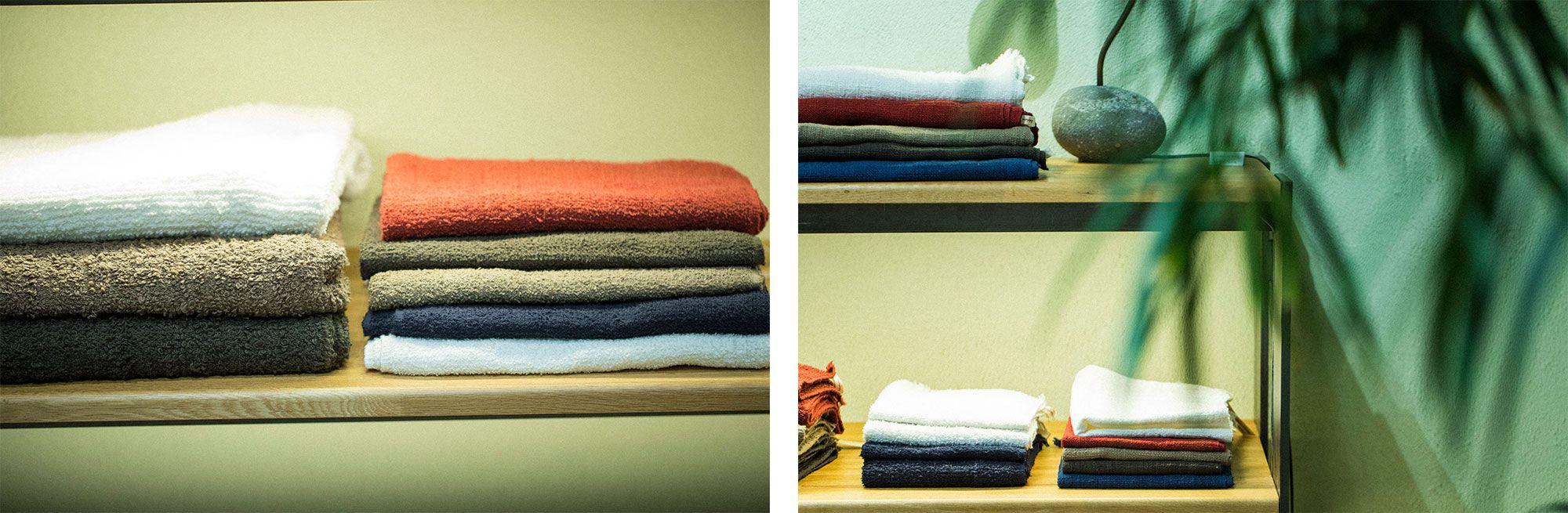 インド産のコットンをていねいに手紡ぎで糸に仕上げ、手織りで織られたタオル。手紡ぎ糸は、表面は柔らかく肌にやさしい。ハンドタオル2,700円~、フェイスタオル4,320円~、バスタオル9,288円~(すべて税込)