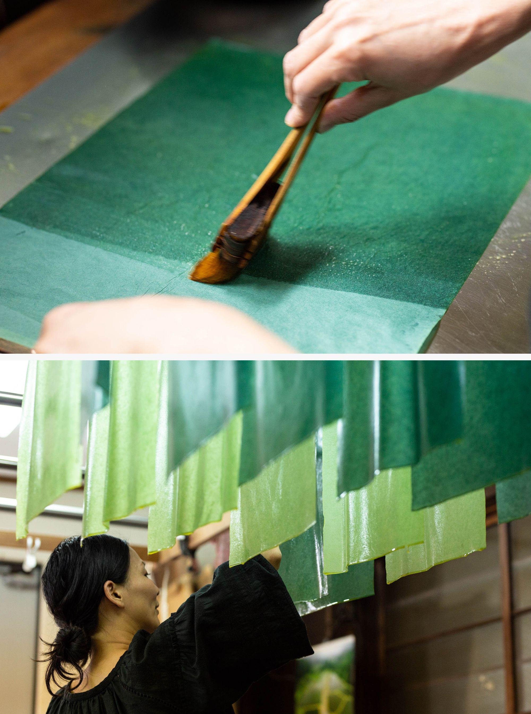 石清水八幡宮の供花神饌用の和紙。供花神饌用の和紙は三女の吉岡更紗が担当。