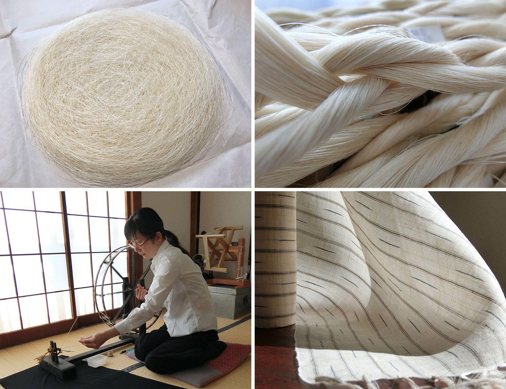 写真左上から時計まわりに繊細さに息を呑む篠野恵子の績んだ糸(からむしのように長い繊維を撚って繋げることを「績む(うむ)」という)。糸車で紡いだ(全体に撚りかけをした)後の糸。篠野恵子の織った、からむしの着 尺。羽衣のように軽く、風をとおして涼感がある。糸を紡ぐ篠野恵子。糸車を使うとき、昭和村では足を使うが、篠野は越後式で足は使わない。Photography by MasakoSuda 篠野恵子のFacebookページhttps://www.facebook.com/profile.php?id=100010681848402