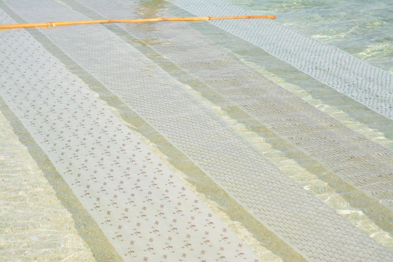 琉球の絣文様がやさしくちりばめられた伝統的な八重山上布の海晒し。写真提供:石垣市織物事業協同組合