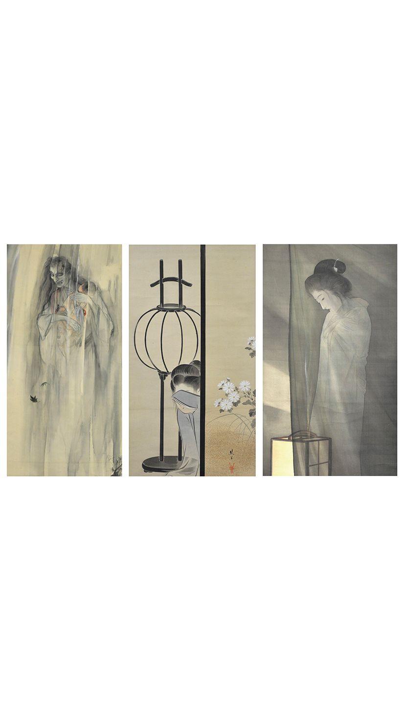 左から、伊藤晴雨「怪談乳房榎図」、池田綾岡「皿屋敷」、鰭崎英朋「蚊帳の前の幽霊」。すべて全生庵所蔵
