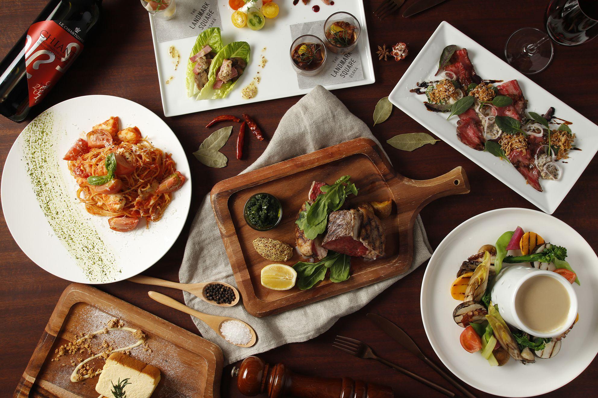 関西の食材を活かすモダンイタリアン。貴賓室テラスオープンを記念したランチコース3,582円、ディナーコース5,980円(税・サービス込)も用意している。