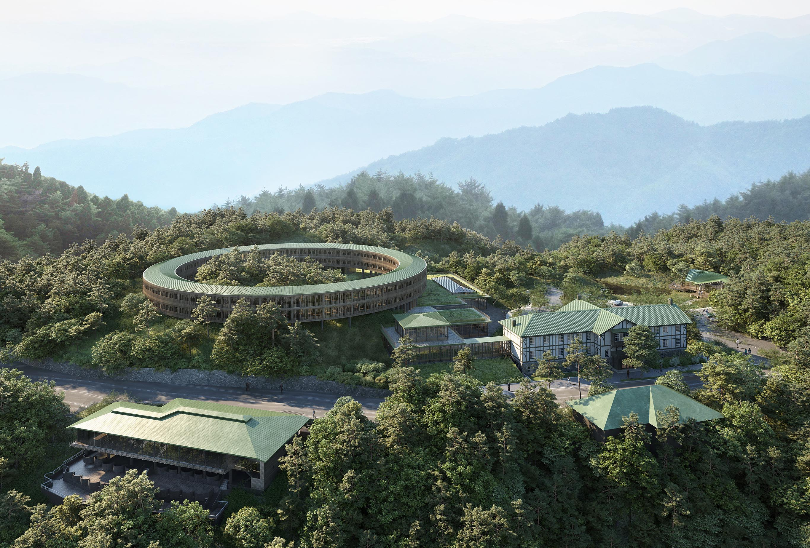 The Rokkosan Silence Resort is scheduled to complete in 2025. In July of 2019, the original building (former Rokkosan Hotel) situated on the back right of the image have reopened.  ©️Rokkosan silence resort