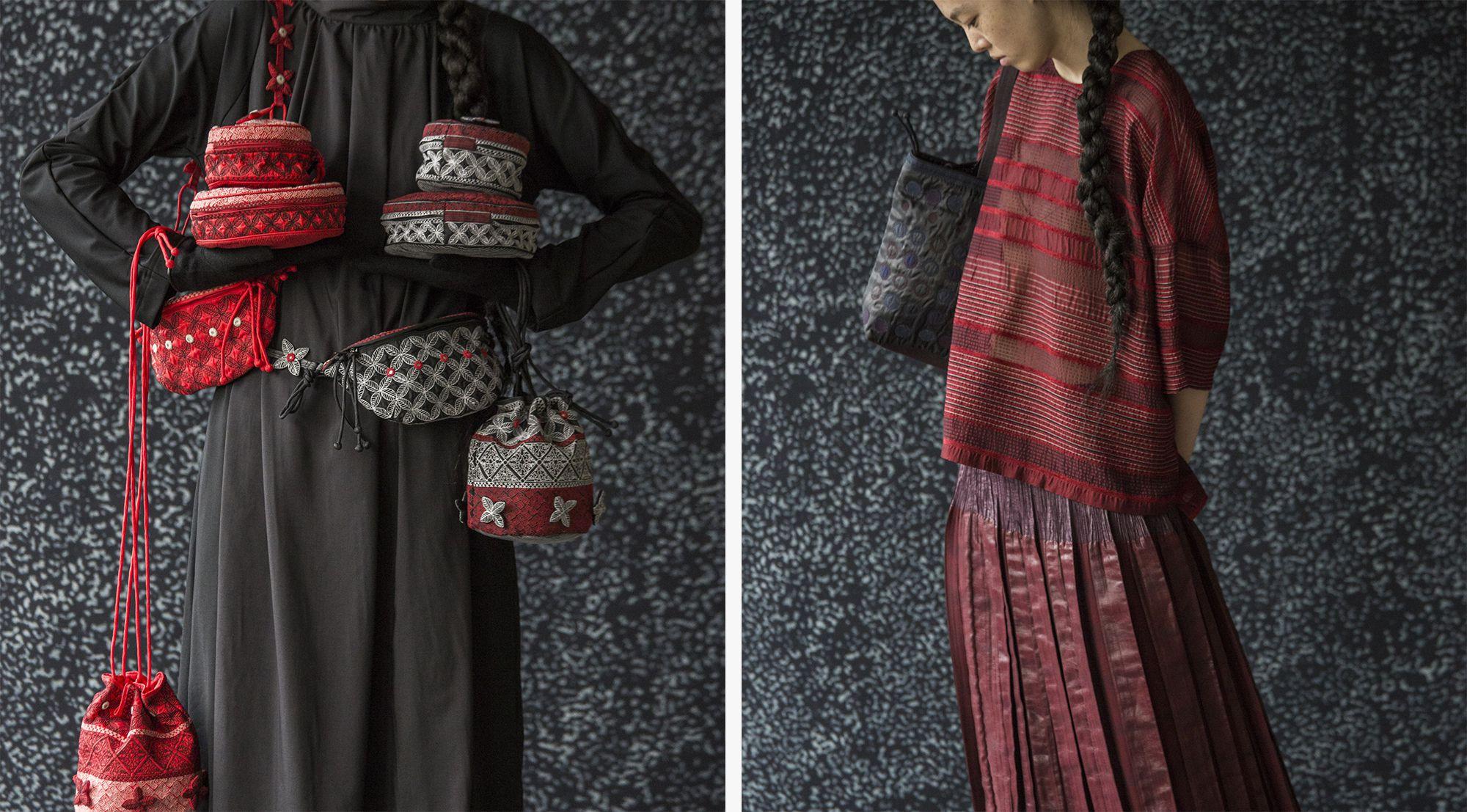 ビリ刺繍が施された「Tamasha」シリーズのバッグ、「ORJ」ワンピース、ランダムボーダー