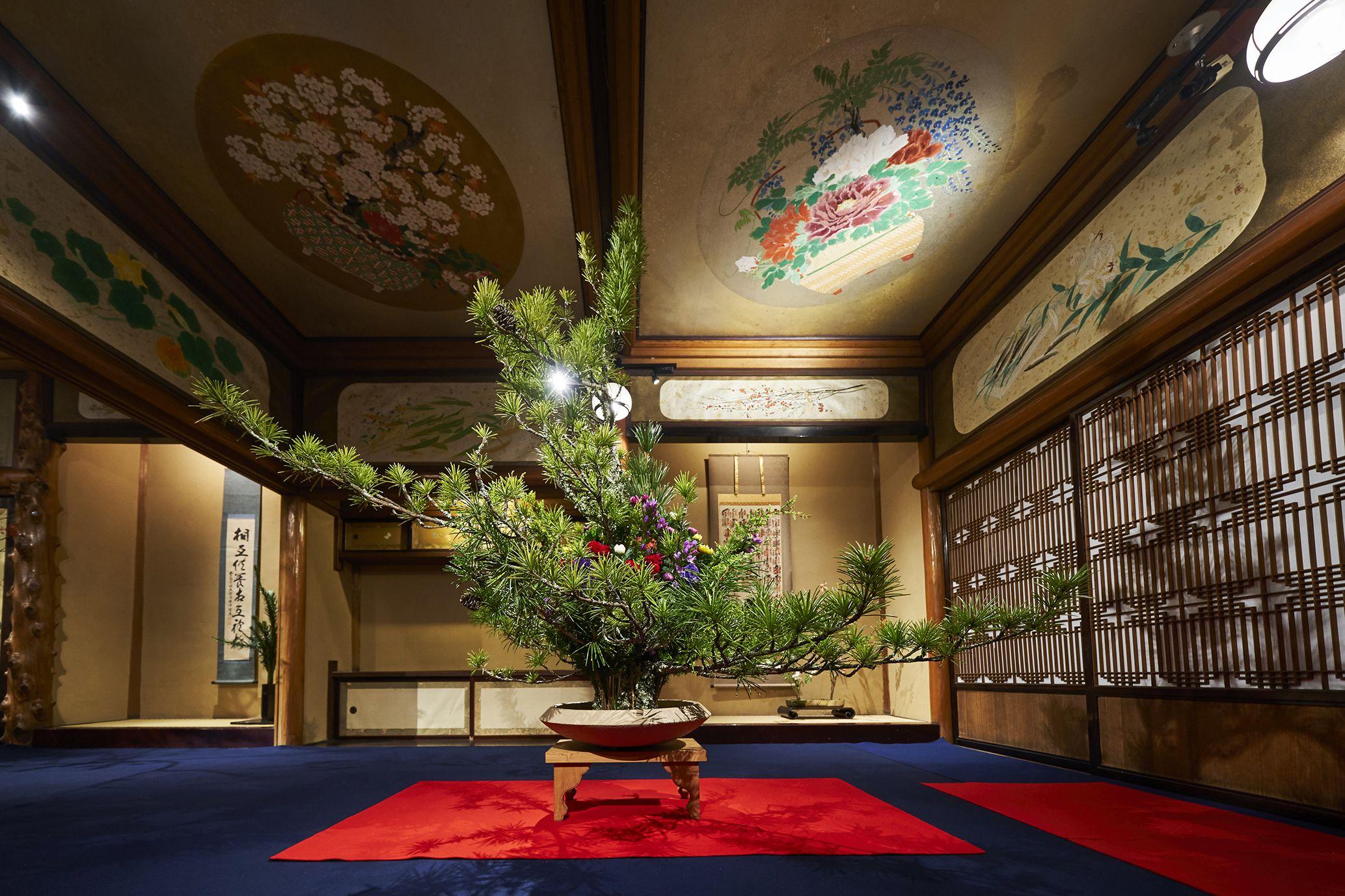 東京都指定有形文化財「百段階段」を舞台に毎週5流派以上の作品を鑑賞できる。