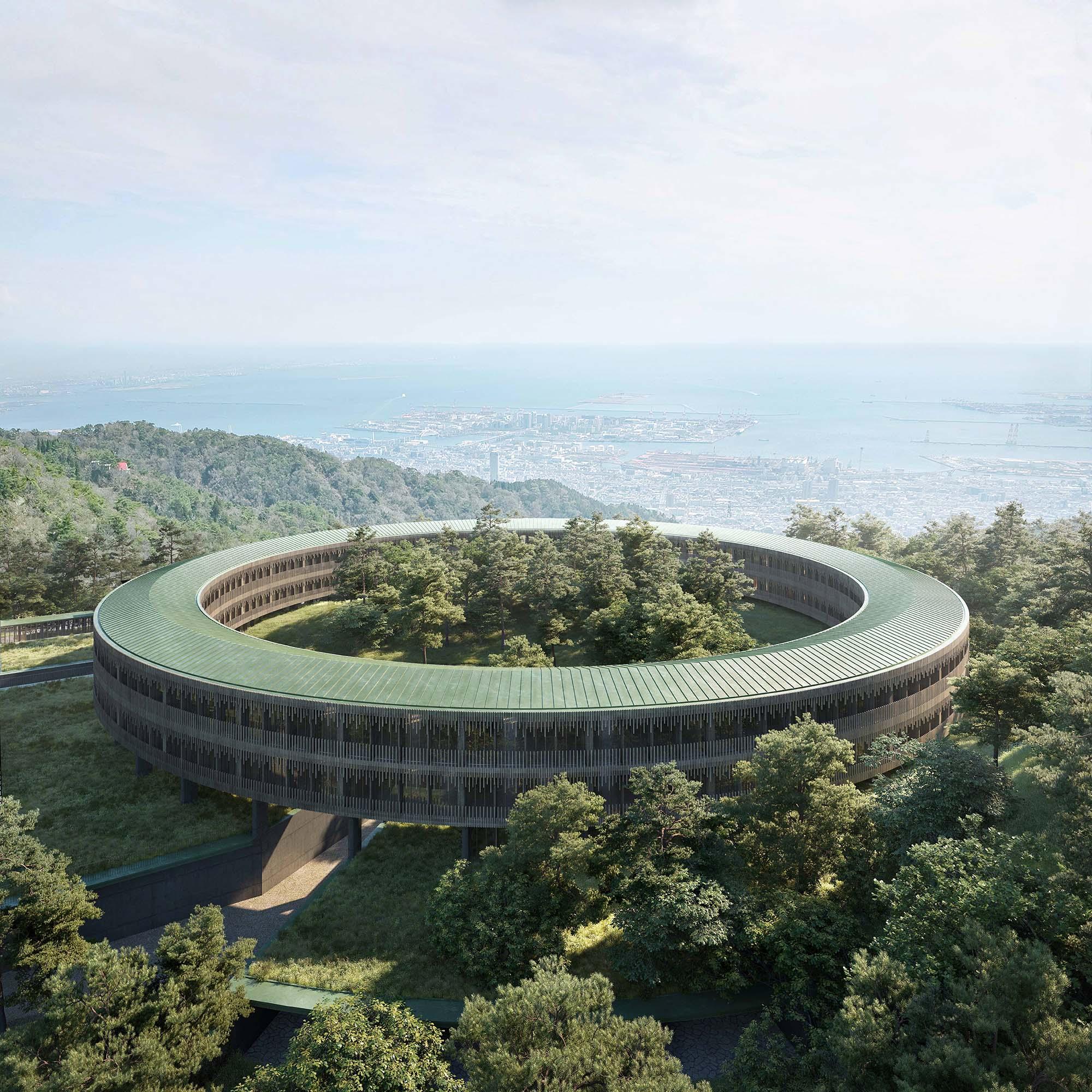リングの中にも森がある低層のリングホテル。神戸港を見下ろすオーシャンビューも選ぶことができる。©️Rokkosan silence resort