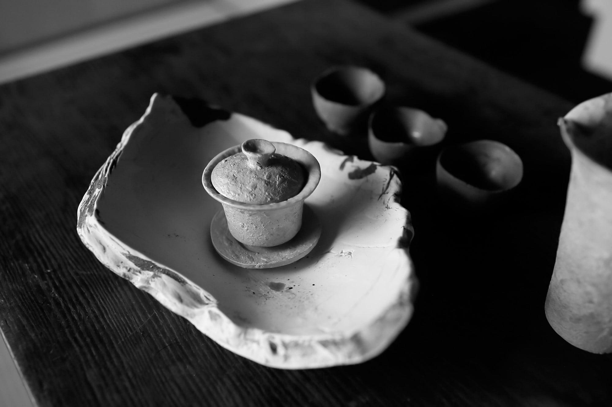 河合和美の作品である中国茶の茶道具。台北での展示会でも人気を集めた。