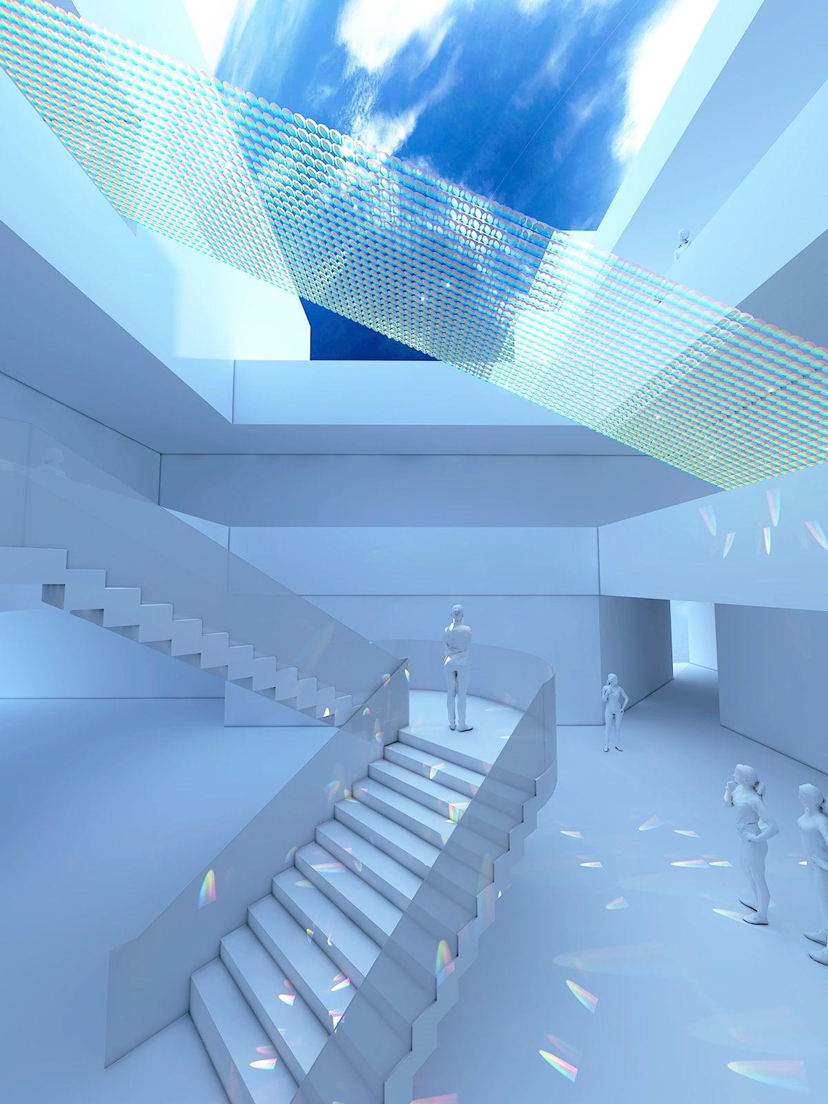 六本木・AXISビルの吹き抜けに展示される「HAKUTEN CREATIVE」