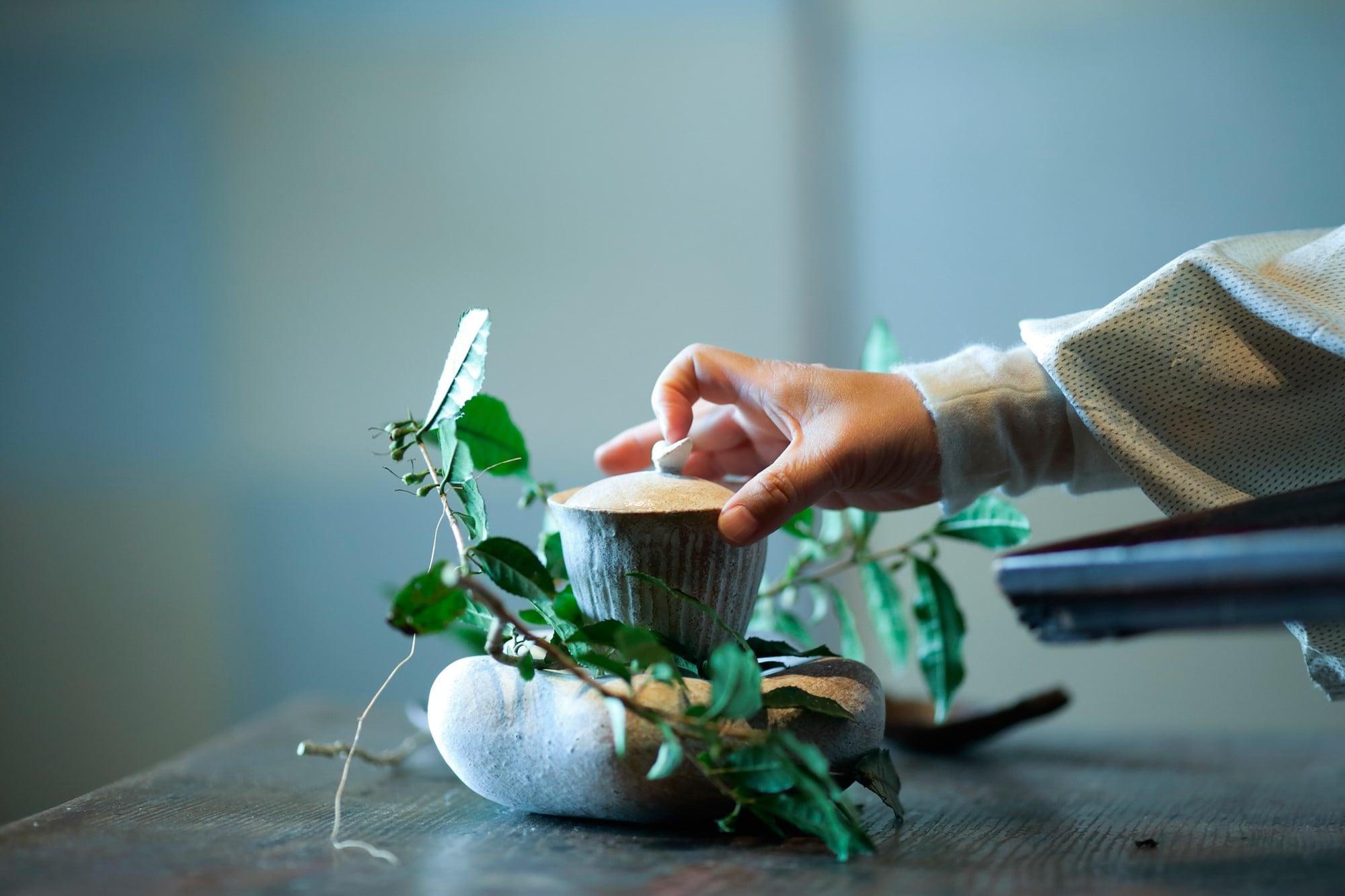 2019年2月、京都小慢のお茶会の様子。蓋碗、茶板の茶器を製作。