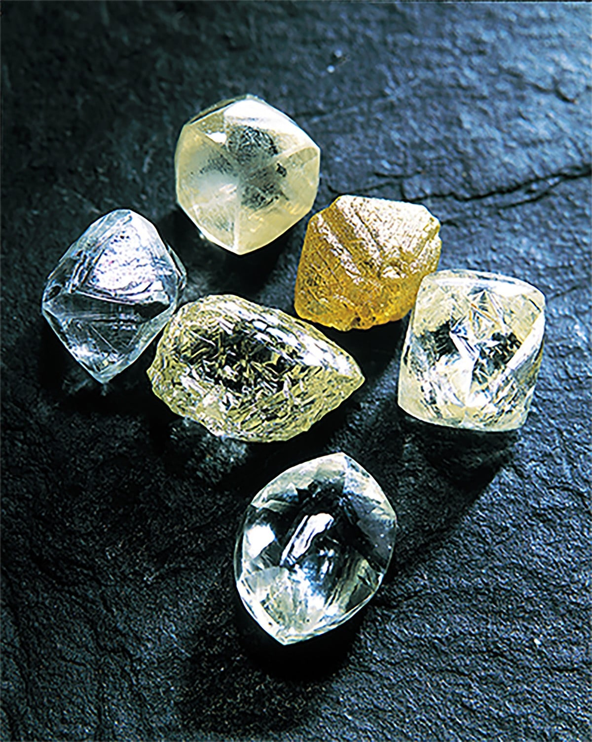 平时难得一见的原钻。即使未经切割、研磨,钻石原石的光辉依然美丽动人。