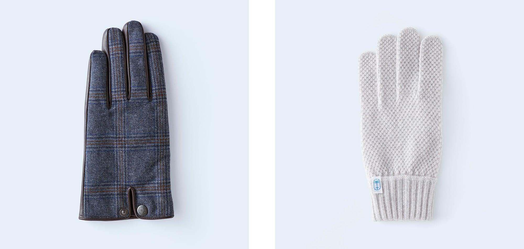 スーツにも、カジュアルウェアにもぴったりな手袋が揃う。左のグレンチェック×レザーの手袋は導電革使用。スマートフォンの操作もできる。 「glen check MEN blue gray」(16,500円)、「kanoko MEN beige mix」(12,100円)