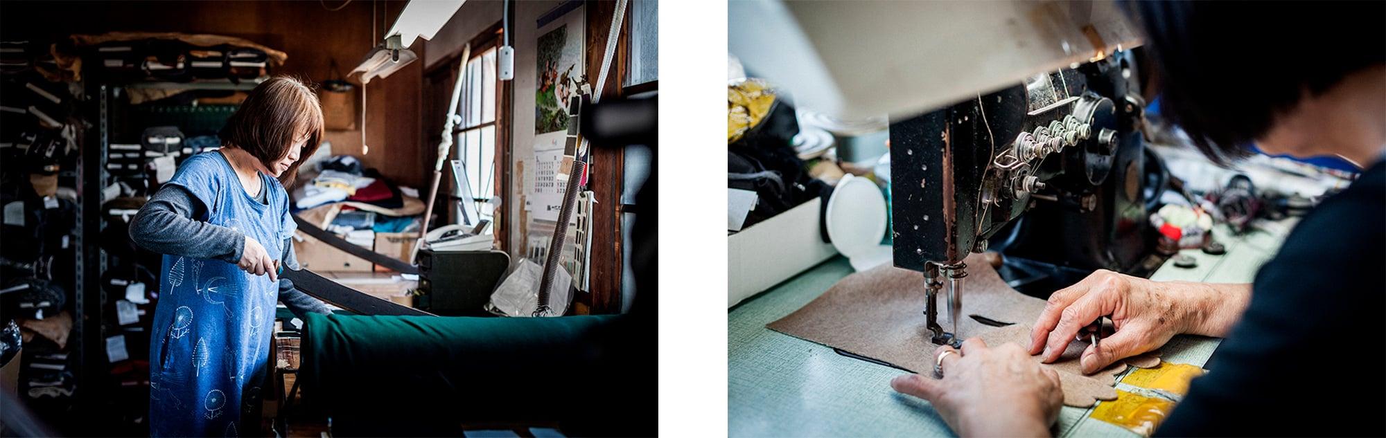 東かがわ市の手袋メーカーが素材の裁断から縫製までを丁寧に行う。