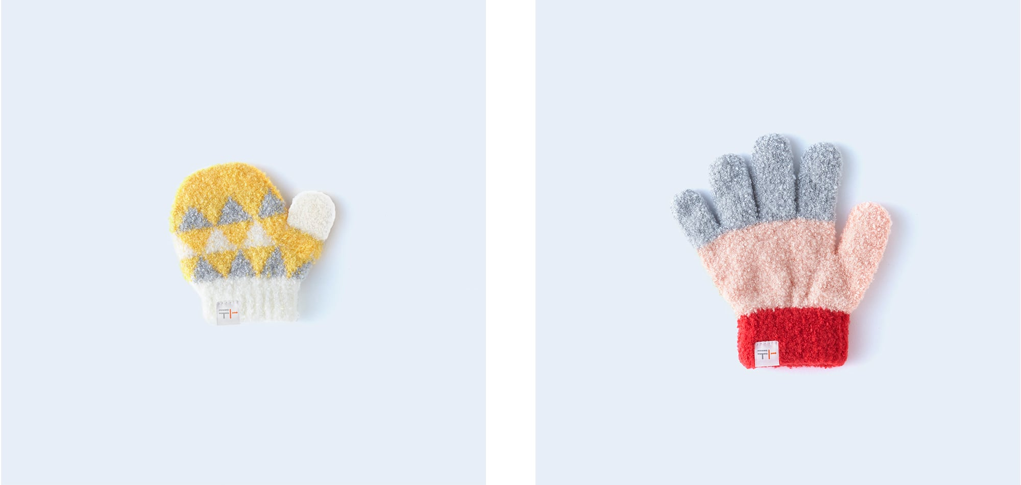 片手ずつでも購入できるのがうれしい。ふわふわ素材の子供用ミトンと手袋。 「sankaku miton KIDS yellow」(両手2,530円、片手1,320円)、「sanshoku KIDS pink 」(両手2,750円、片手1,430円)