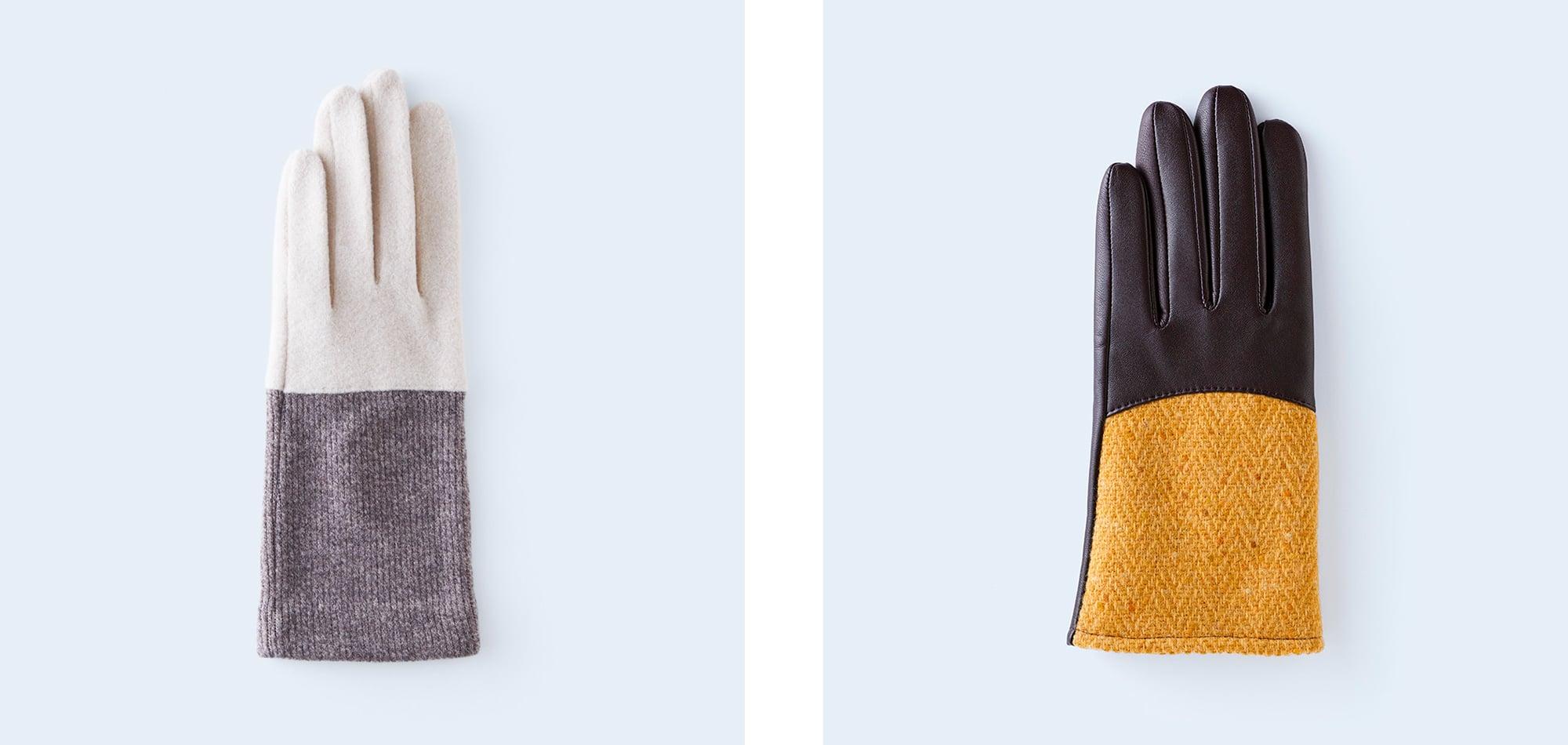 今年は見た目にも楽しい、異素材ミックスのデザインが豊富。 左から「bicolor WOMEN ivory & brown」(7,150円)、「herringbone WOMEN yellow」(16,500円)