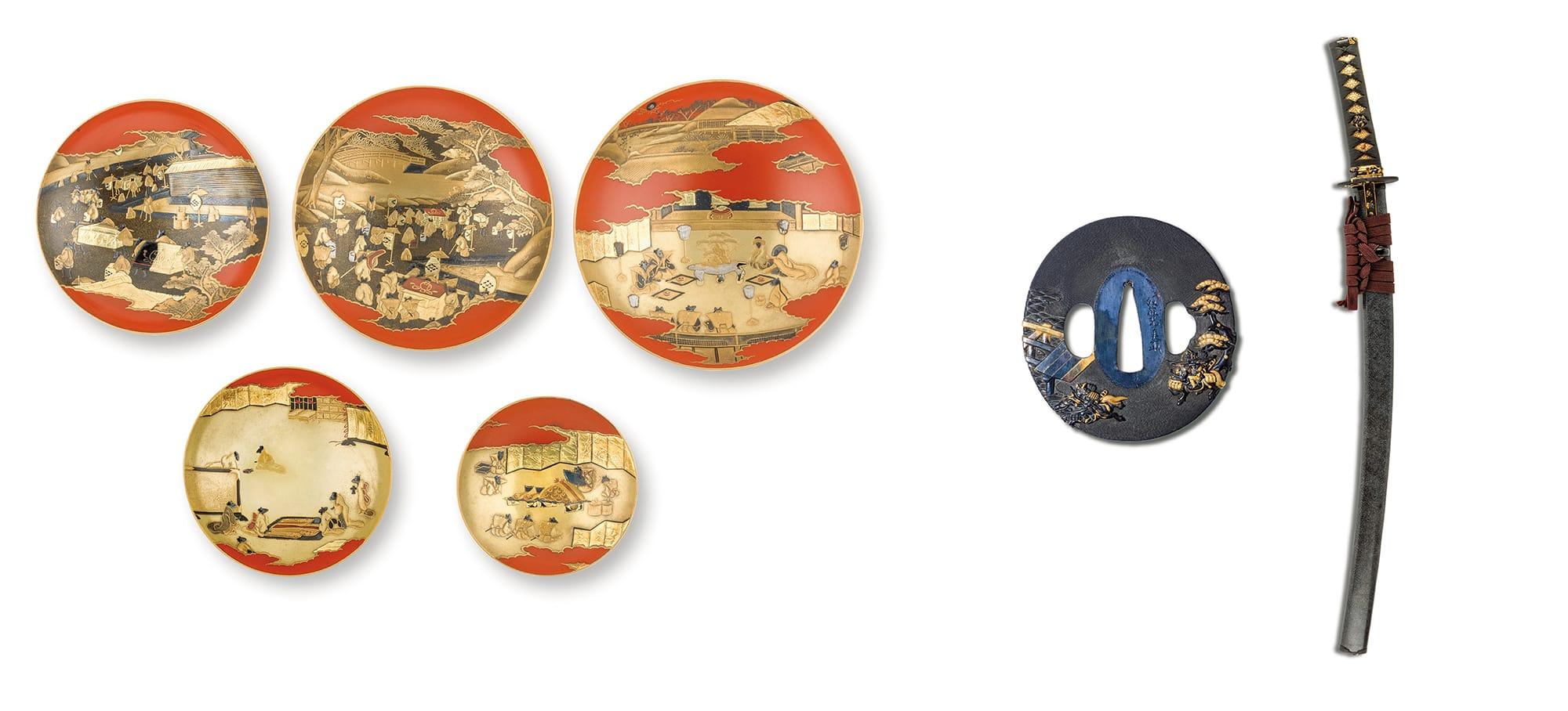 左:朱漆塗鼠嫁入蒔絵組盃(浮船/作) 江戸時代 19世紀 ベニス東洋美術館蔵右:藍鮫研出鞘脇指拵(鐔 銘 後藤光美、目貫 割際端銘 光・美、小柄・笄 無銘) 江戸時代 19世紀 ベニス東洋美術館蔵