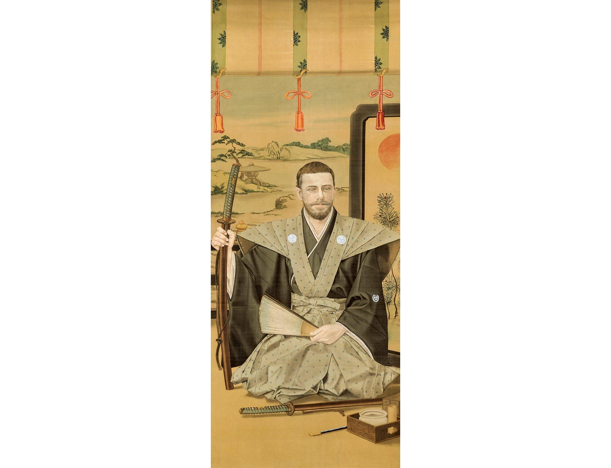 バルディ伯爵肖像 明治22年(1889) ベニス東洋美術館蔵 裃や甲冑姿の定型化した絵画に、顔の部分を本人そっくりに書き込んだもの。当時、日本土産として人気を博した。サムライ文化の蒐集を積極的に行ったバルディならではの一品。