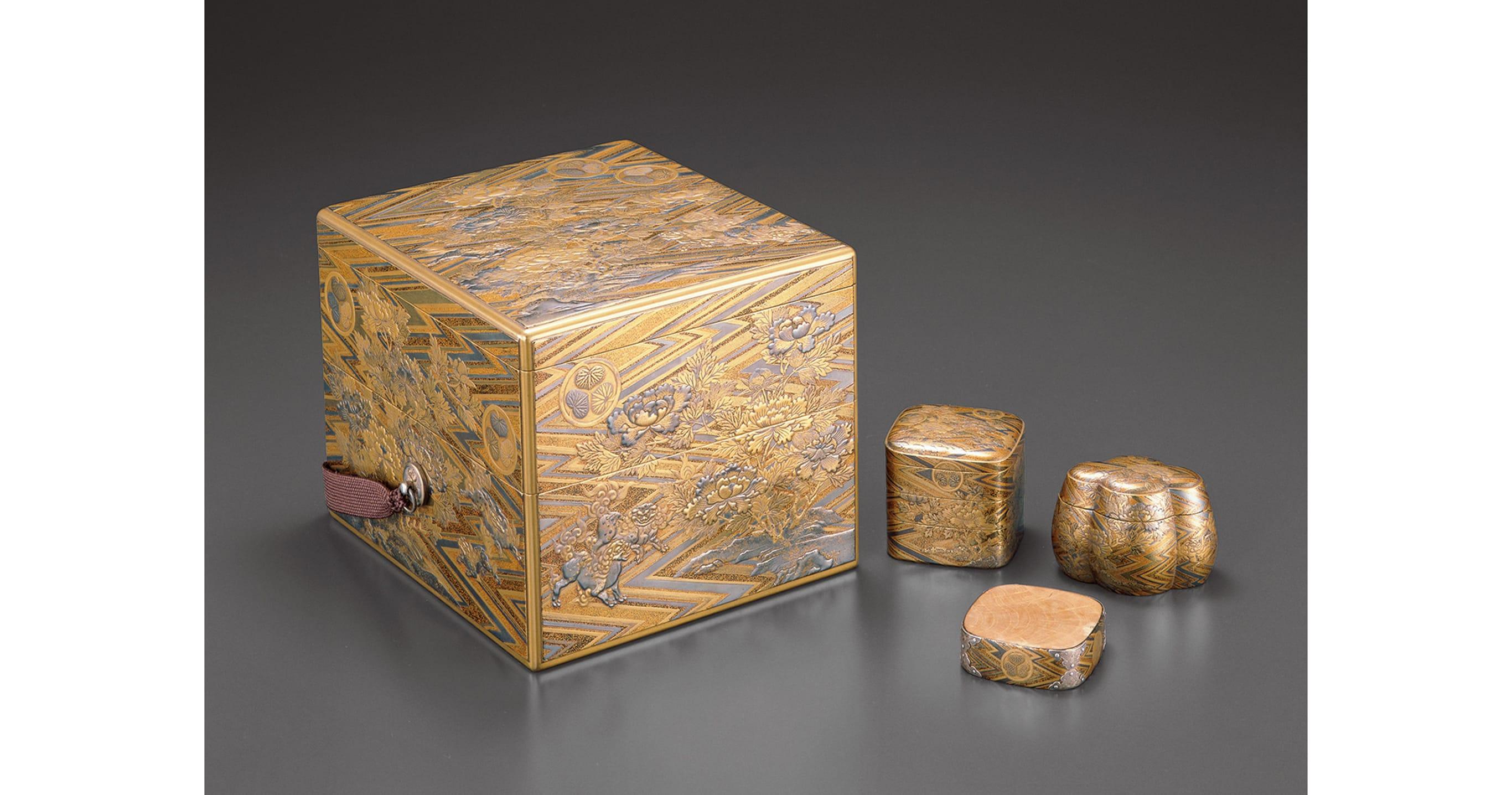 綾杉地獅子牡丹蒔絵十種香箱(幸阿弥長重/作)慶安2年(1649)江戸東京博物館蔵