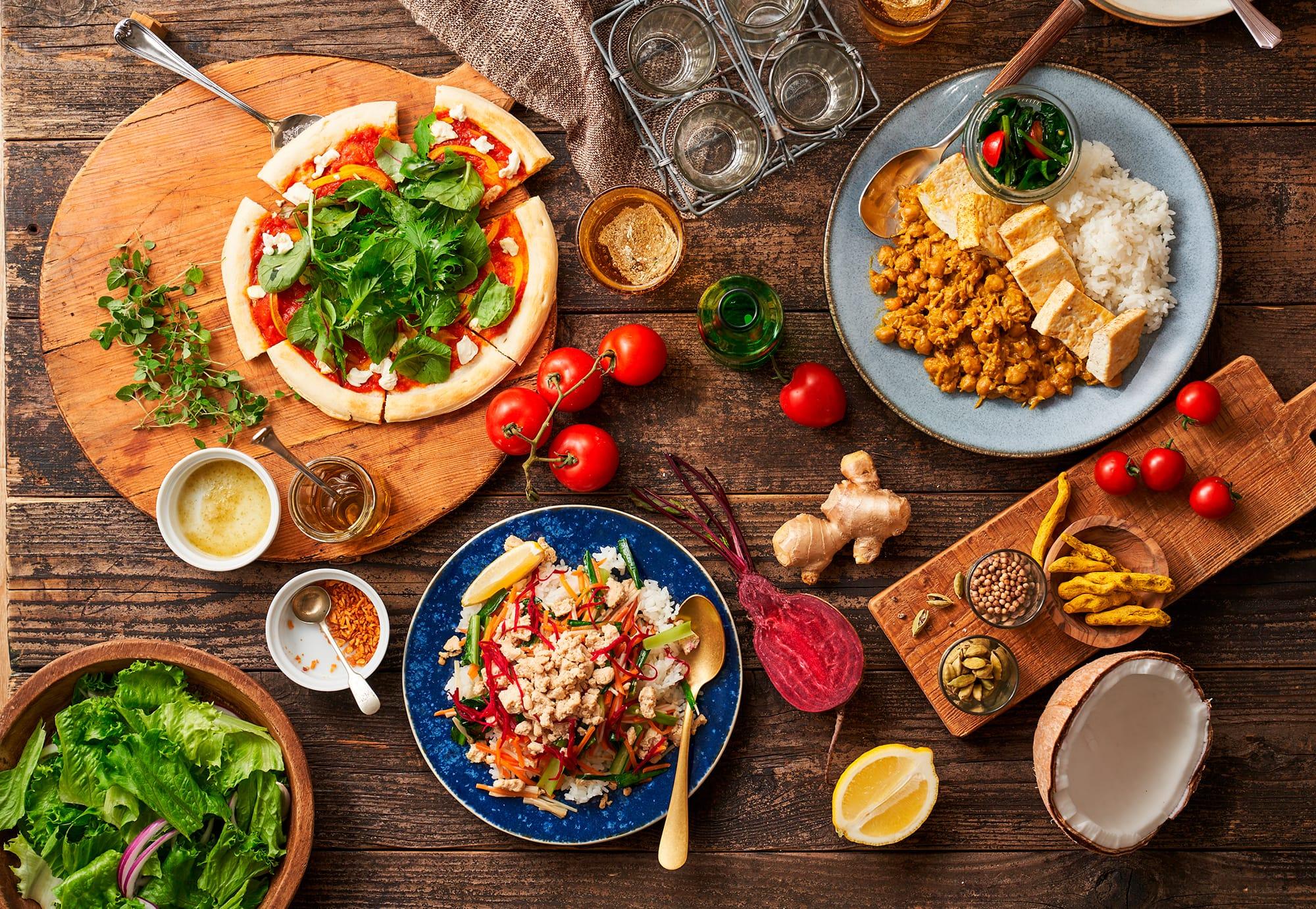 肉や魚、卵や乳製品を使用しないヴィーガン食を手軽に実践できるミールキット。