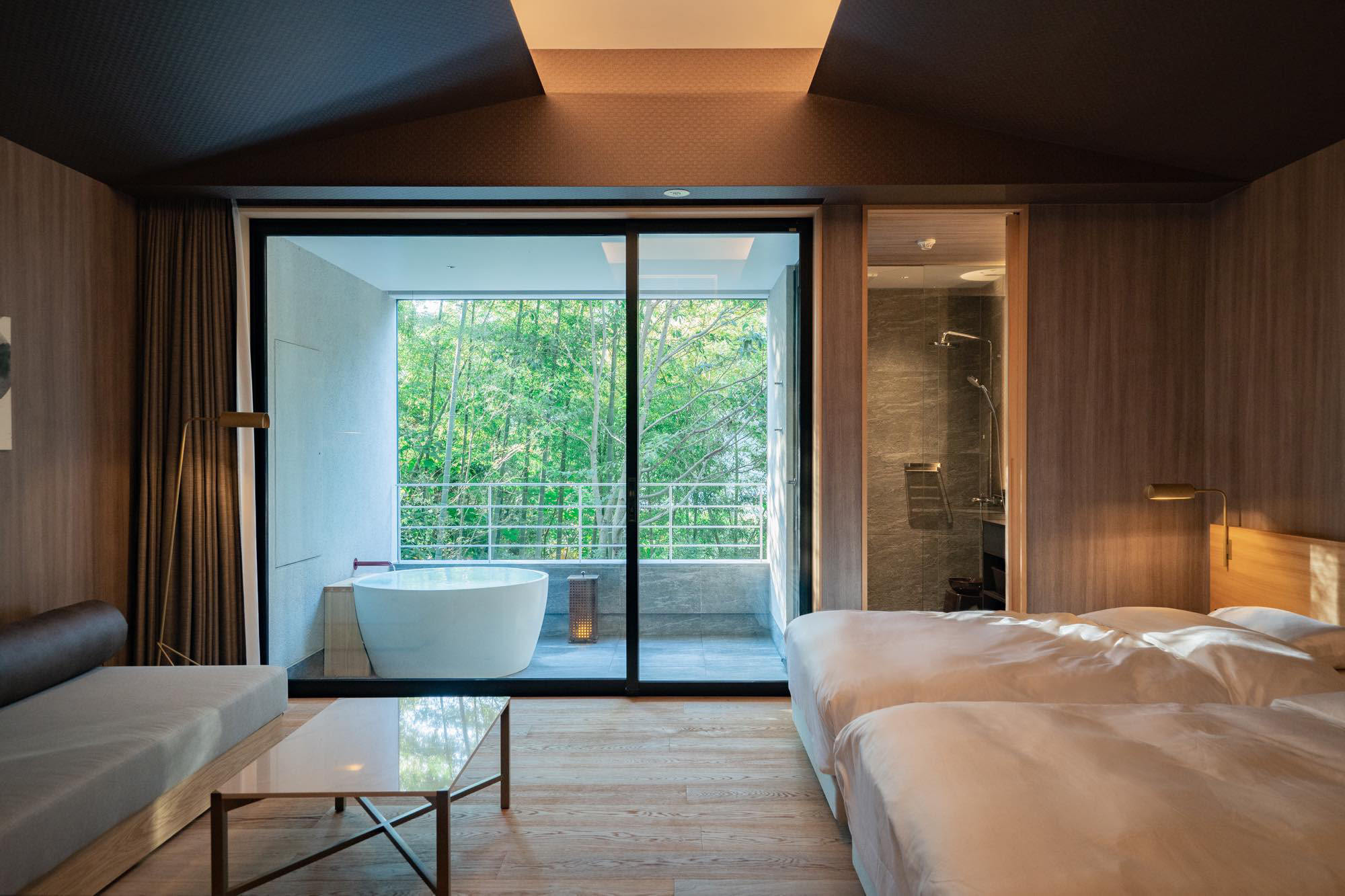 The guests rooms are simply furnished using plenty of wood.