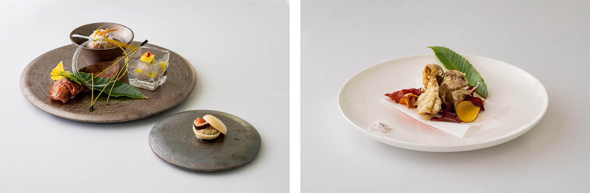 Left image: a magnificent Japanese appetizer plate / Right image: tempura using fresh porcini mushrooms imported from Italy