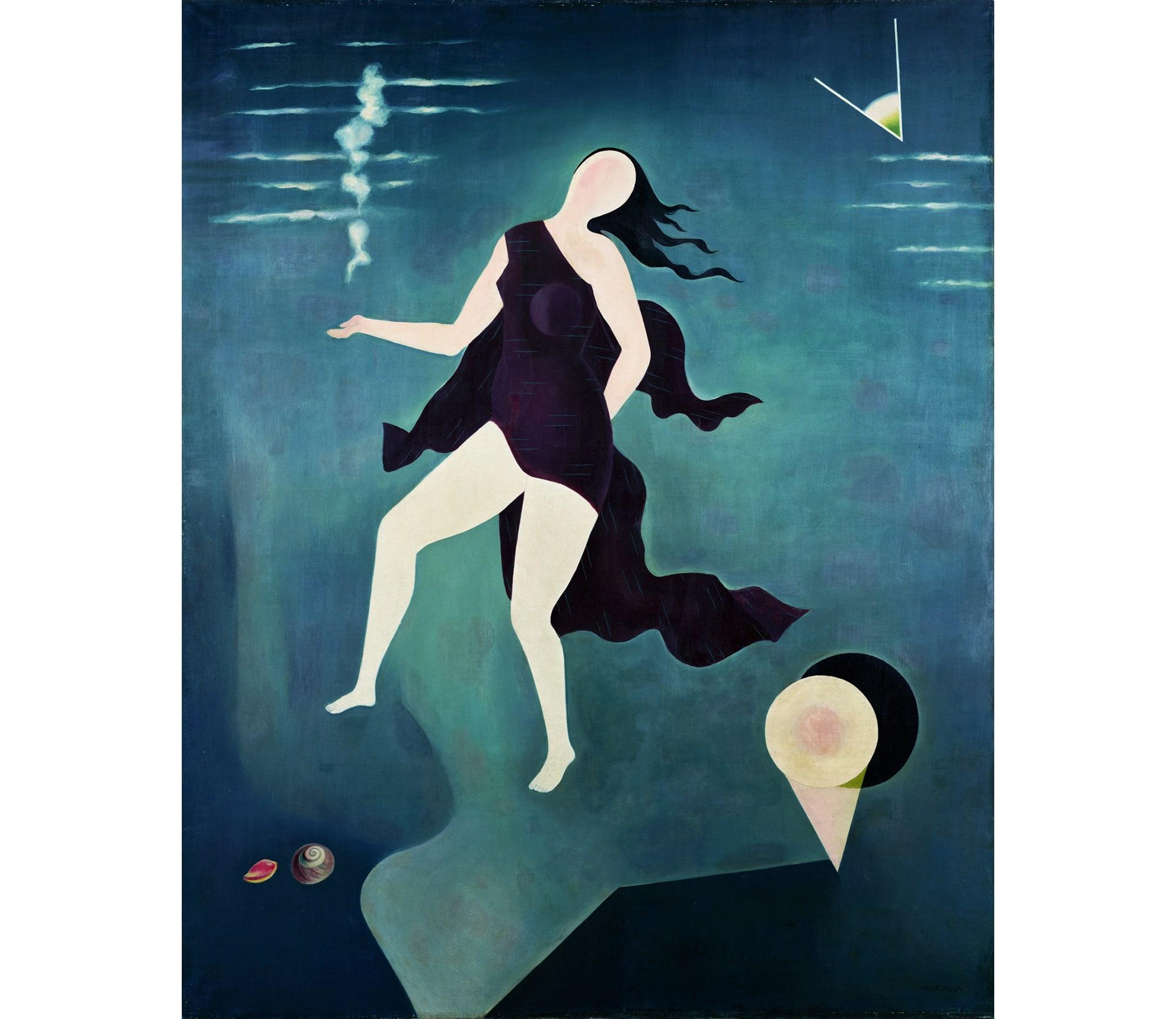 「シュルレアリスムと絵画―ダリ、エルンストと日本の『シュール』」より。古賀春江《白い貝殻》 1932年(昭和7)ポーラ美術館蔵
