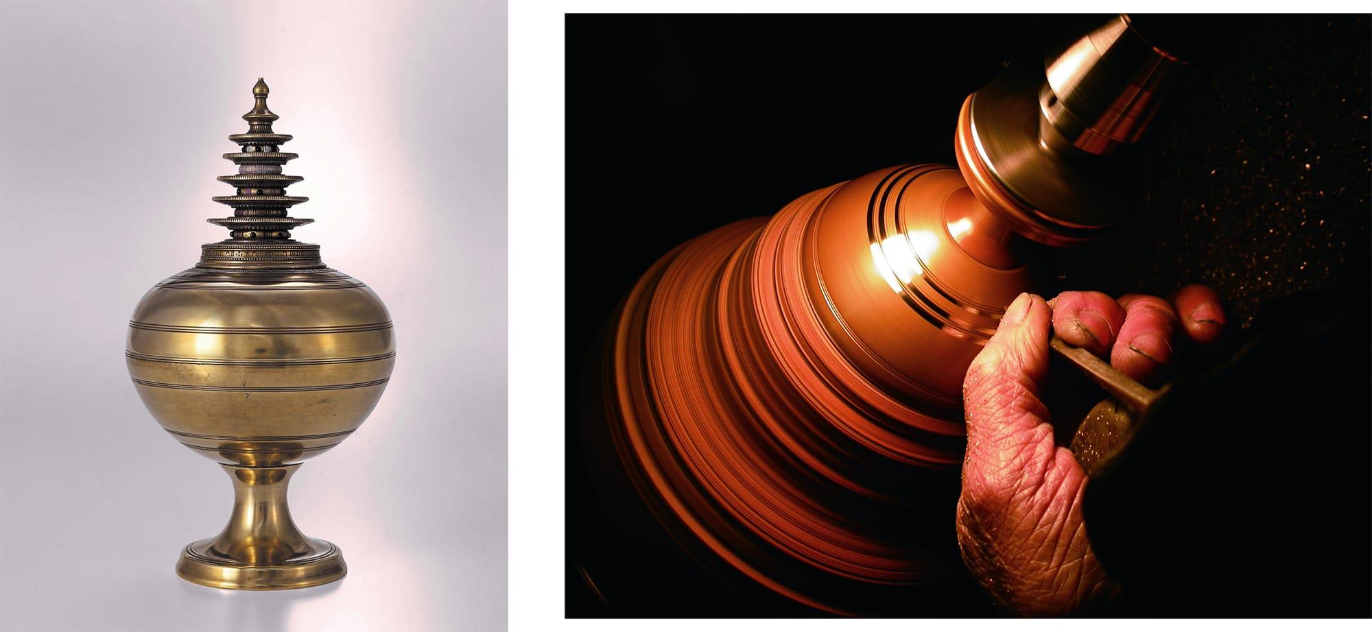 左:模造 黄銅合子(おうどうのごうす) 正倉院事務所蔵 右:模造 黄銅合子(おうどうのごうす)の表面を削っている様子
