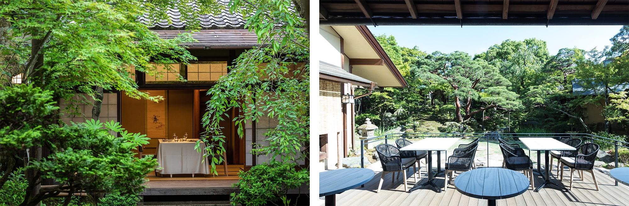 左から、離れ「さくら」ではシャンパン付きの特別なアフタヌーンティーも用意。右、レストランのテラスからは樹齢200年の赤松を中心に四季の景色を楽しめる。