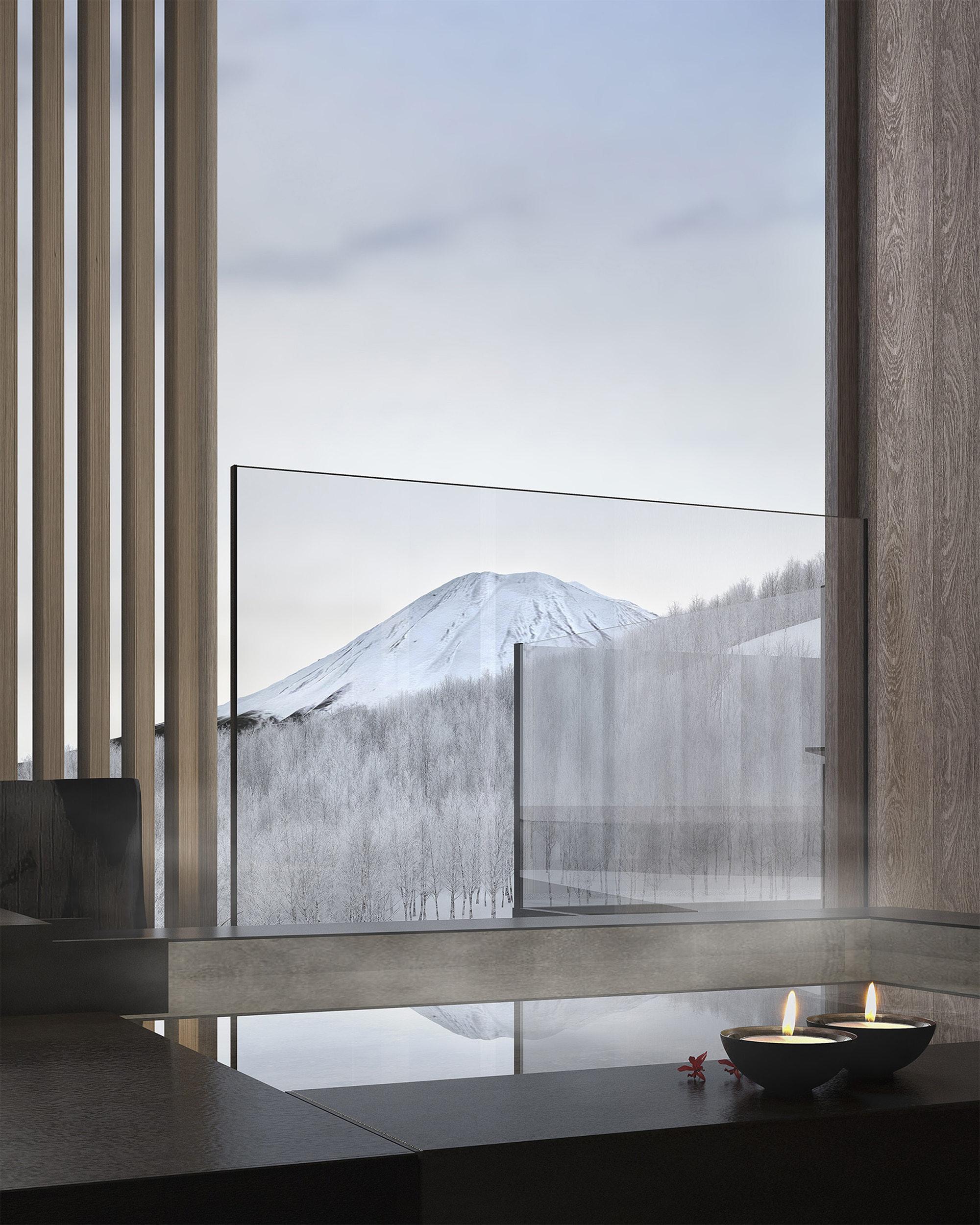 半露天風呂付のスイートもあり、温泉を堪能しながら大きな窓からは羊蹄山の雄大な眺めが楽しめる。