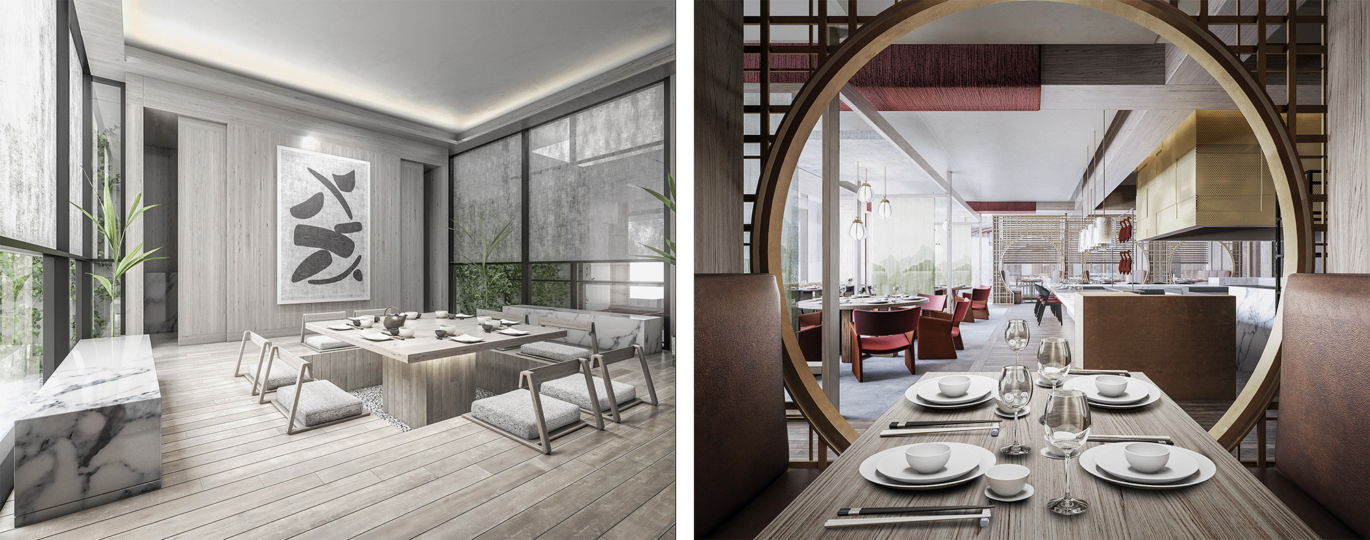 左はプライベートダイニングルームのNiwa。右は中国料理のChina Kitchen。 ミシュラン3ツ星のフレンチや鮨、炉端焼きやチャイニーズなど、11のレストランやラウンジで北海道の新鮮な食材を使った美食が堪能できる。