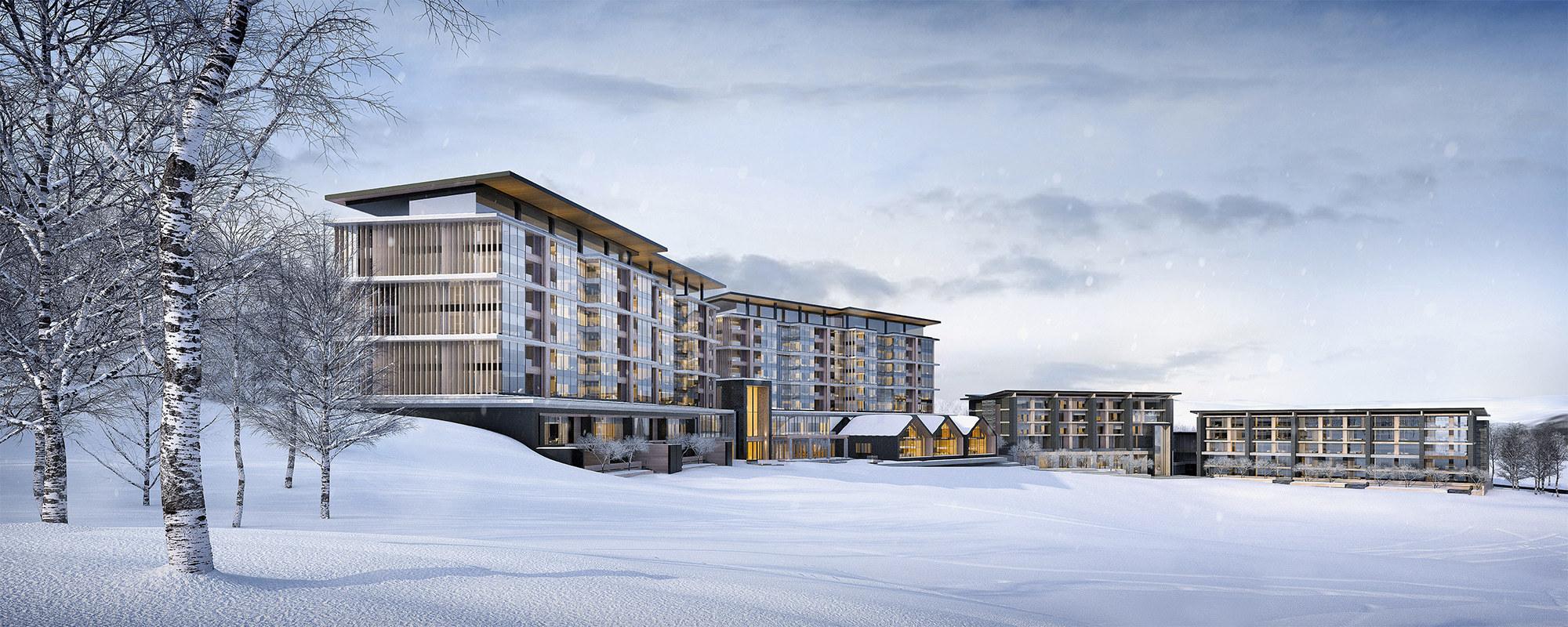 アルペンロッジをイメージしたホテルからは、羊蹄山とニセコ連峰を一望できる。