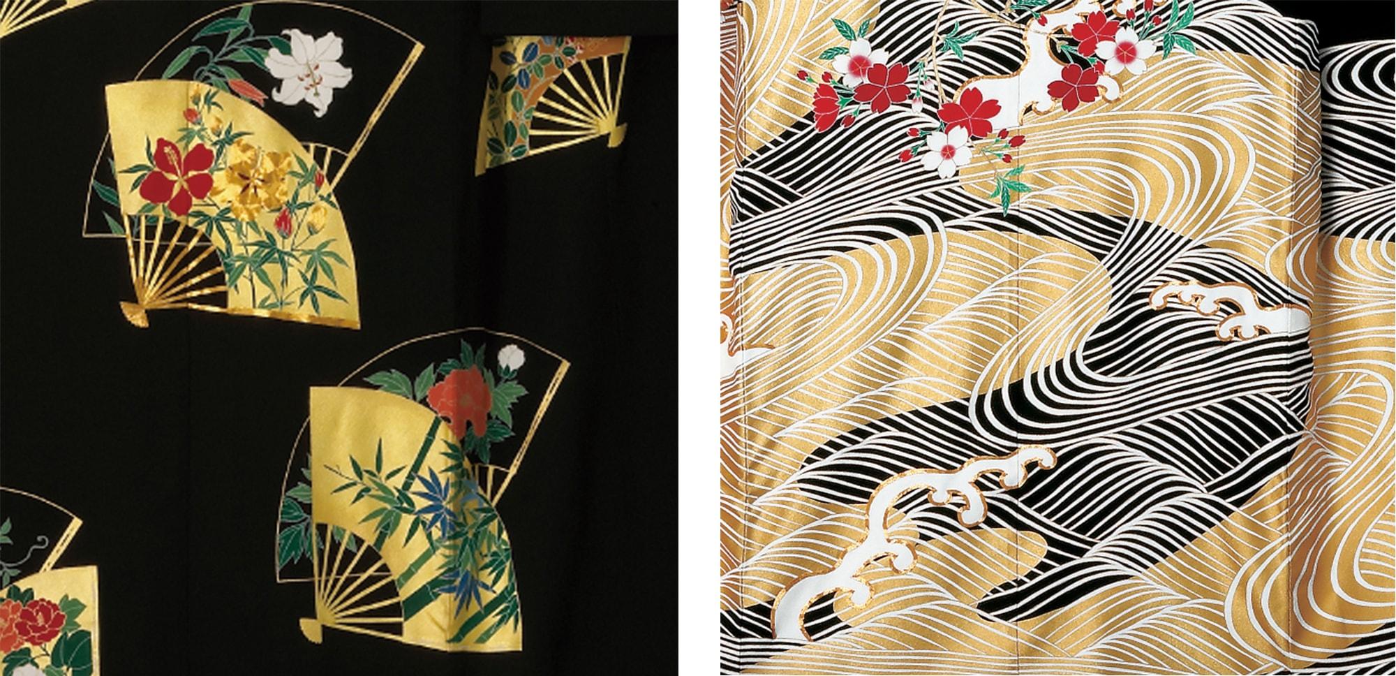 おめでたい扇面を重ね合わせた黒の花嫁(左)と、紅白の桜に繊細な白上げの波と荒々しい波涛(はとう)文を表した花嫁振袖(右)