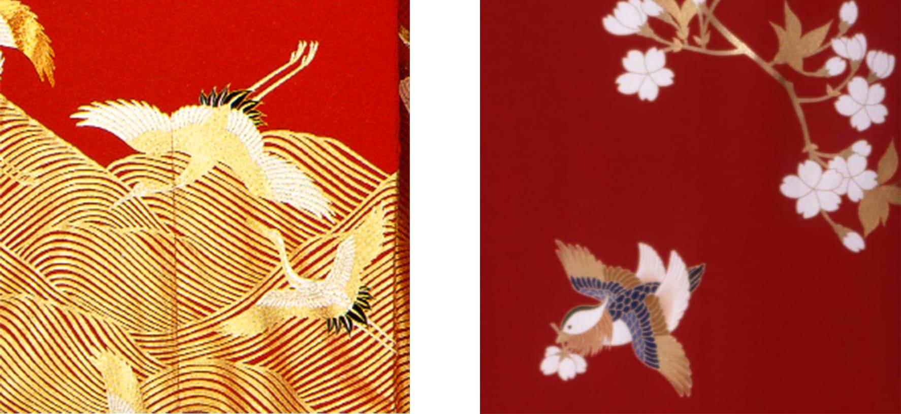 日本の瑞鳥の代表である鶴を主題にしたきもの(左)や雌雄仲睦まじい鴛鴦をモチーフにしたきもの(右)は、慶事の晴着として愛されてきた