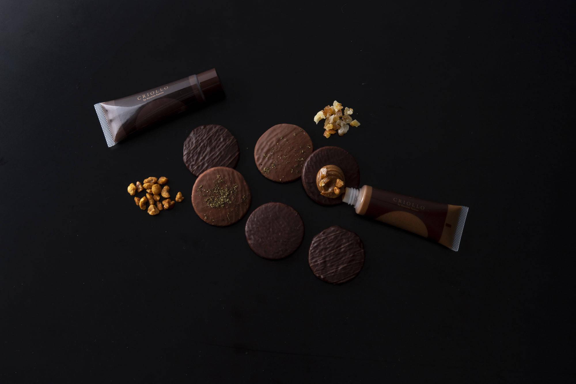 サブレ3種(ブラックチョコレート、山椒&ミルクチョコ、乾燥クレープ&ブラックチョコレート)とプラリネクリーム、チョコレートナッツクリーム、トッピングのヘーゼルナッツとオレンジピールが入った「パレット・ショコラ」。¥2,500(税込)