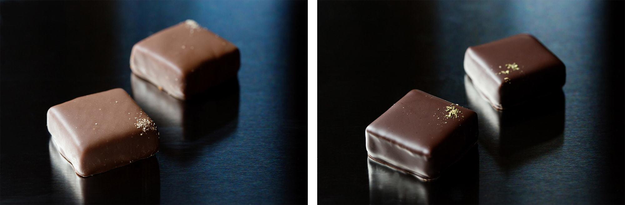 写真左から、ミルクチョコレートに特殊な製法で燻製香をとじこめた「スモーク」とみどりのダイヤと呼ばれるぶどう山椒の清涼感ある風味広がる「ぶどう山椒」。各250円(税別)