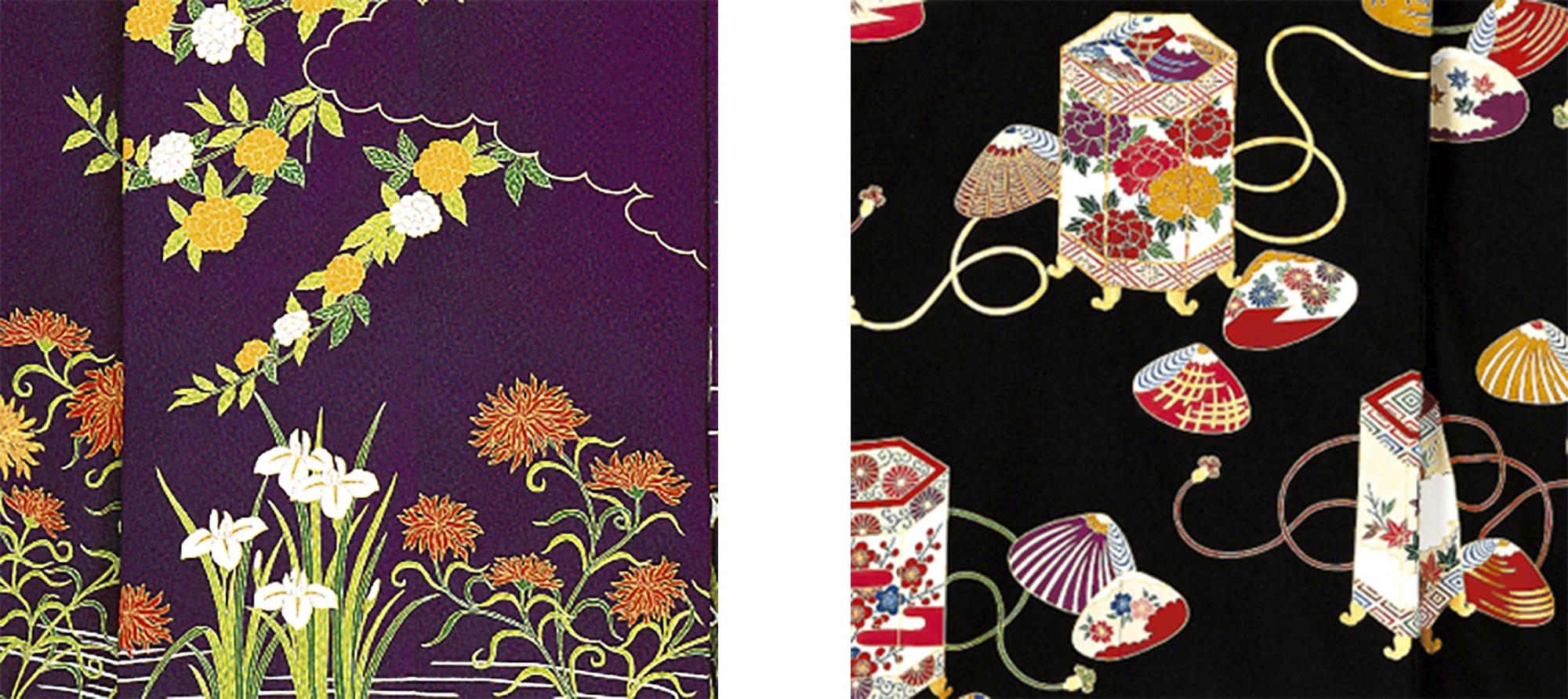 四季の百花を同時に咲かせたきもの(左)貝や貝桶に折々の草花が描かれたきもの(右)。草花の華やぎがめでたさを引き立てている