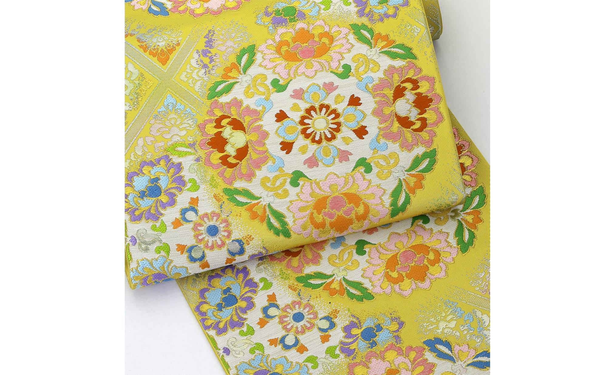 帯「装華遥映錦」(龍村美術織物) 寺院の柱を飾る装飾絵画を主題とした袋帯