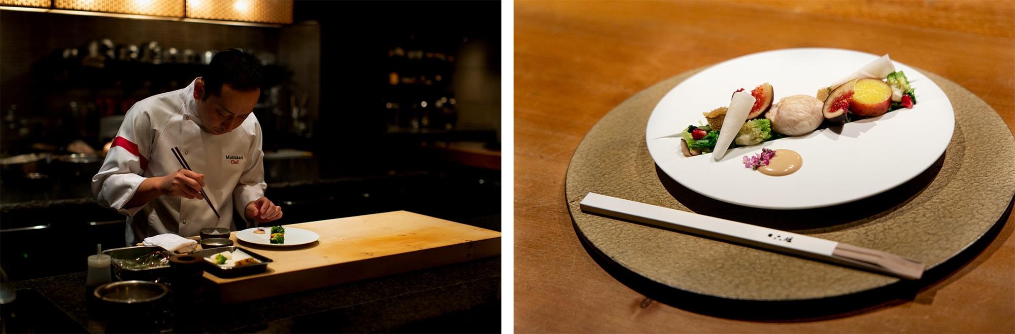 左:六雁のオープンキッチンに立つ総料理長、秋山能久(あきやまよしひさ)氏。そのたたずまいからもシャープで洗練された感性が伝わる。右:冬の前菜の一皿「季節野菜のおひたし」。白のエレガントな皿は、有田焼と同様400年の歴史を持つ佐賀県嬉野の肥前吉田焼。料理のイベントで嬉野と縁の深い秋山総料理長の考案により製作されたもの。
