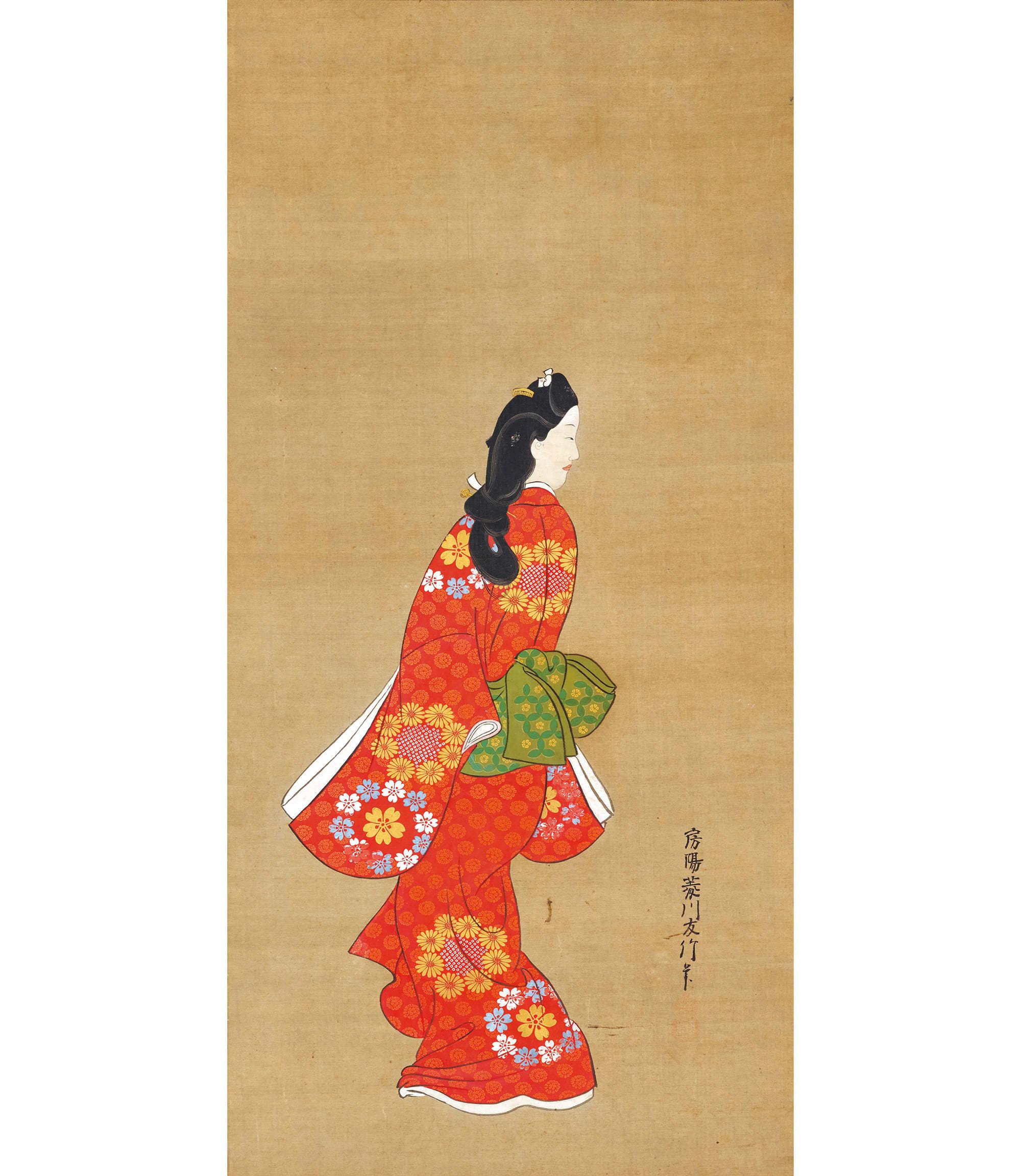 見返り美人図  菱川師宣筆 江戸時代・17世紀、東京国立博物館蔵