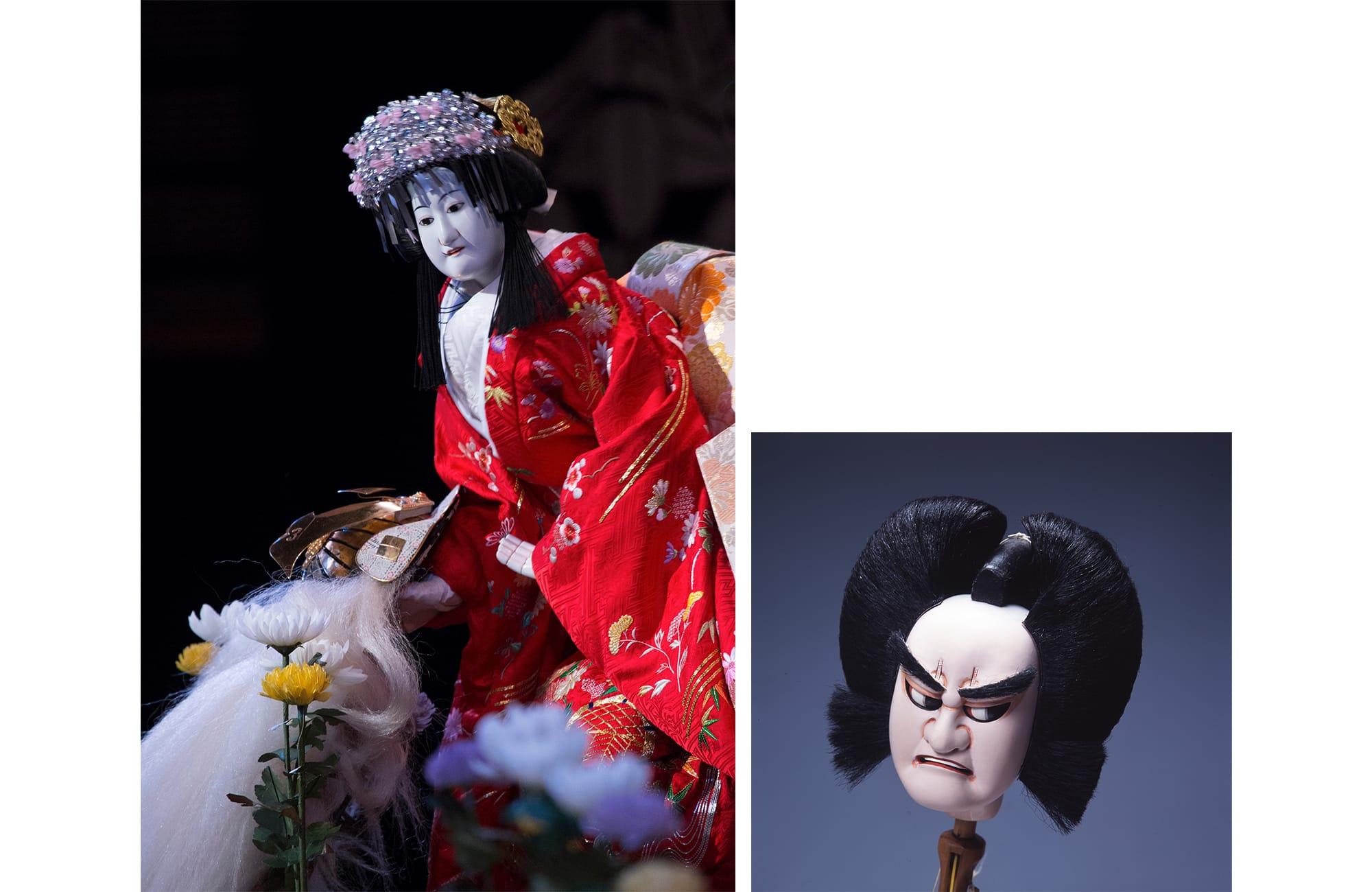 左:文楽「本朝廿四孝」奥庭狐火の段 八重垣姫 右:文楽人形のかしら(文七) 国立文楽劇場蔵