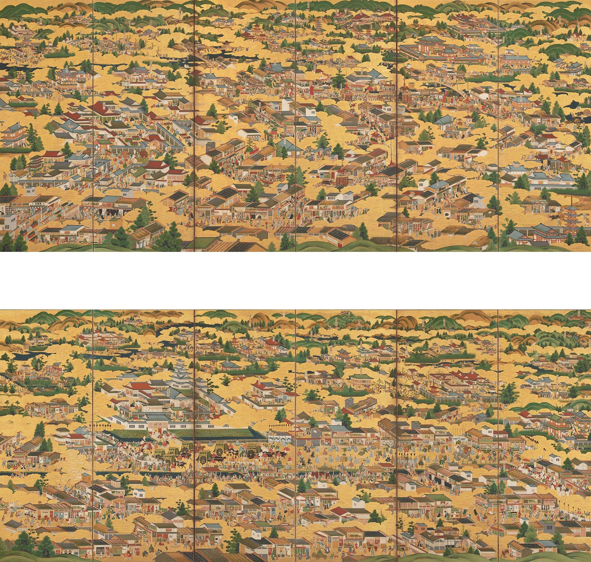 《洛中洛外図屏風》上/右隻 下/左隻 江戸時代17世紀石橋財団アーティゾン美術館蔵(新収蔵作品)