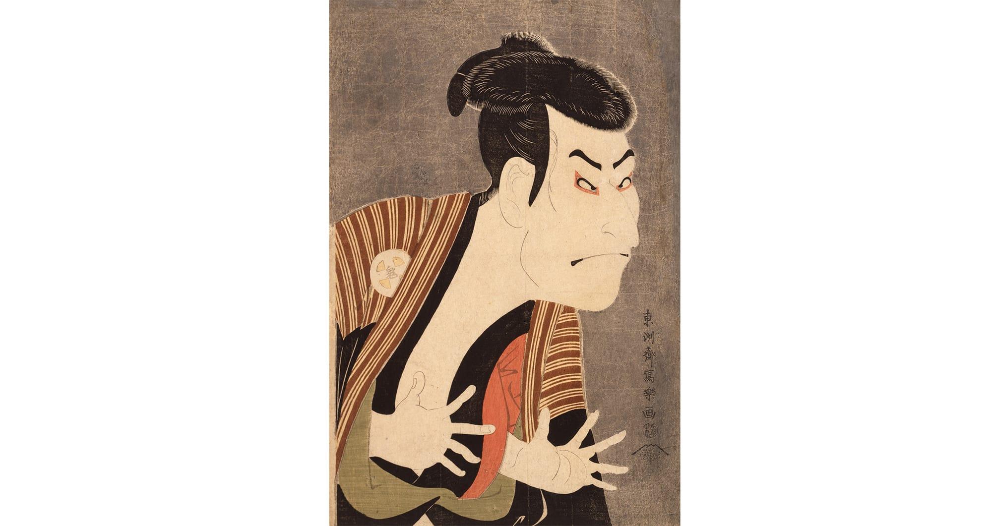 東洲斎寫樂「三代目大谷鬼次江戶兵衛」大判 錦繪(彩色版畫) 寬政6年(1794)5月 日本浮世繪博物館 似明星寫真的「役者繪」(Yakusha-e)(繪畫題材多是當時歌舞伎的演員),當時非常有人氣,也是觸發浮世繪滲透到一般平民百姓的原因。
