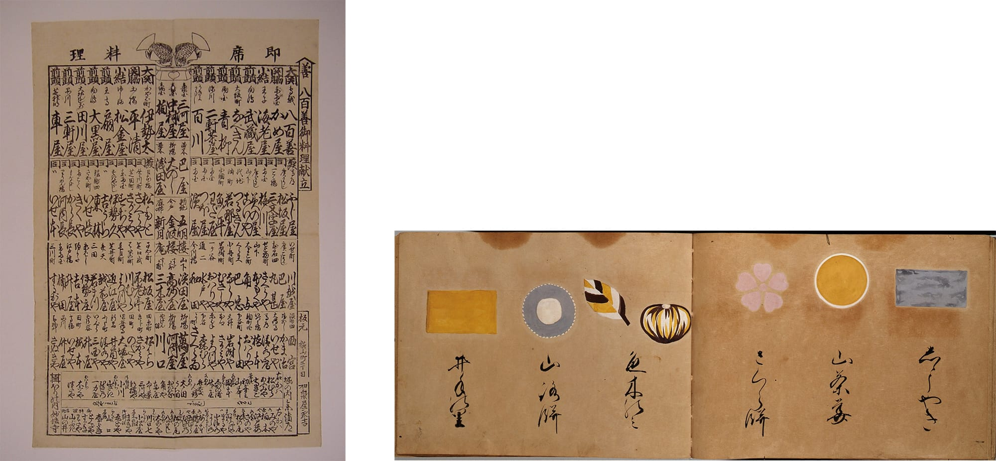 左:江戸時代後期 東京家政学院大学付属図書館大江文庫蔵。右:「元禄御菓子之畫圖」虎屋黒川家文書 虎屋文庫蔵