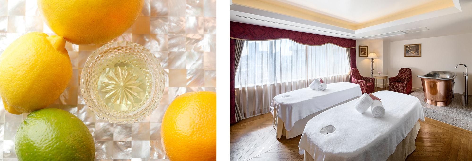 ヨーロピアンスタイルのスパ Le Spa Parisienでは柑橘系をブレンドしたオリジナルオイルで心身共にリフレッシュできる。シトラスリフレッシュボディ 80分(¥19,800 消費税・サービス料込)