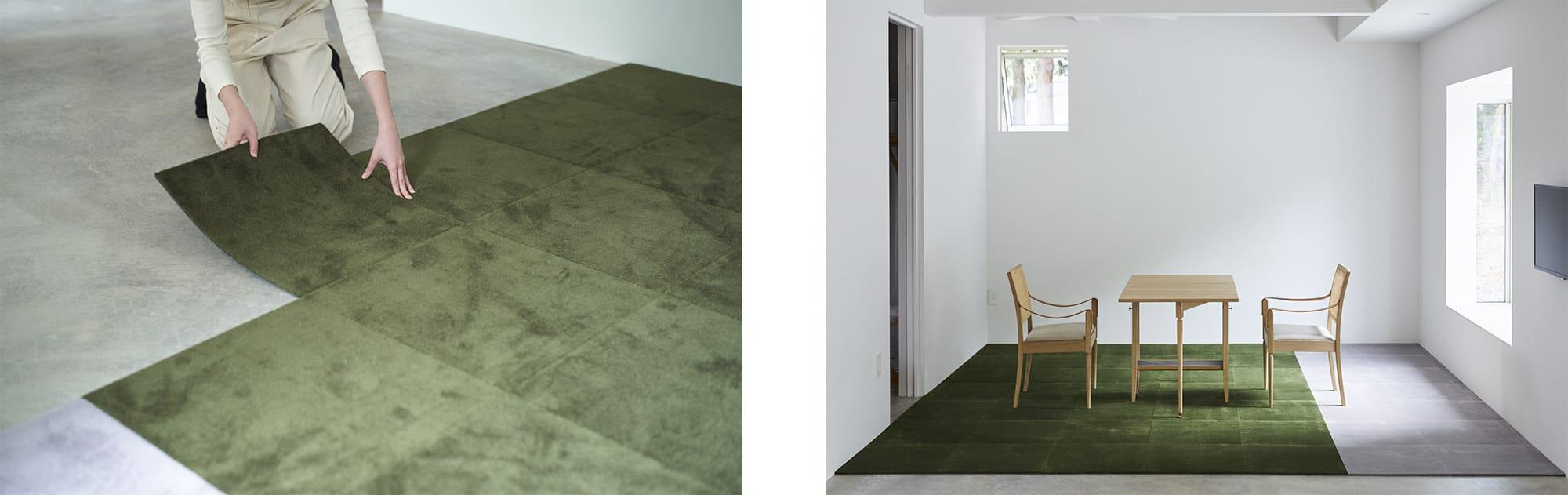 誰もが簡単に床をつくれるDIYカーペット「WOOLTILE(ウールタイル)」。並べて置くだけでラグになり、難しい工具を使わずに床一面に敷き詰められる。好きな色を組み合わせて楽しむことも。