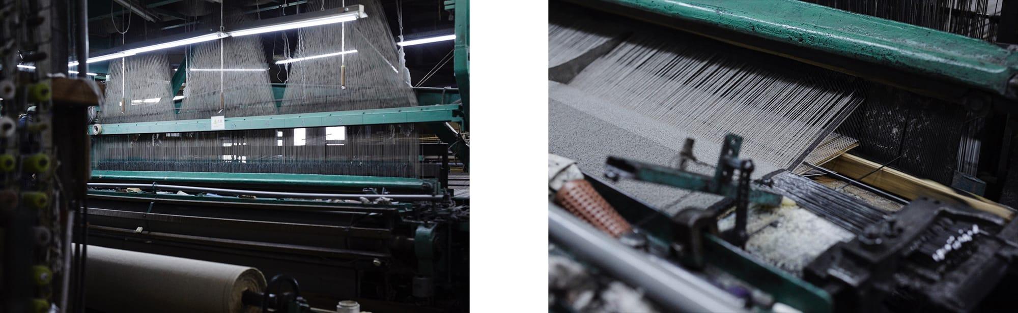 これらのカーペットを作リ出すウィルトン織機は、1800年代のイギリス産業革命の時代に開発された歴史的な織機。堀田カーペットでは50年ほど前に日本で生産されたウィルトン織機を何度もメンテナンスをしながら使っている。