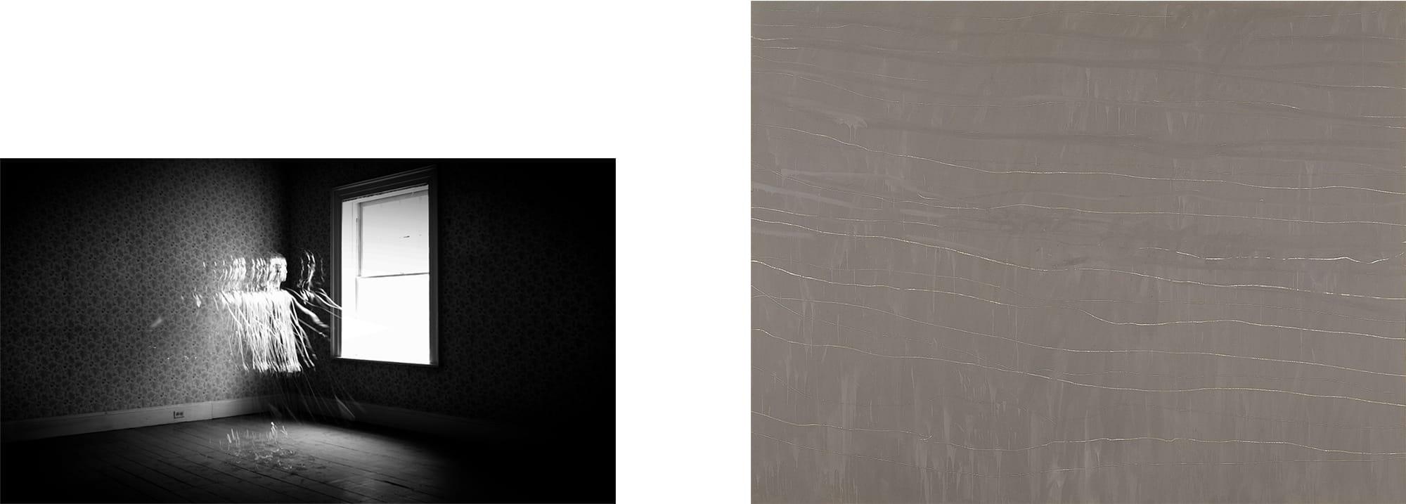 さわひらき(1977- ) × サイ・トゥオンブリー(1928-2011)の出会い左:さわひらき《Souvenir IV》2012年右:サイ・トゥオンブリー《無題》1968年 DIC川村記念美術館 © Cy Twombly Foundation